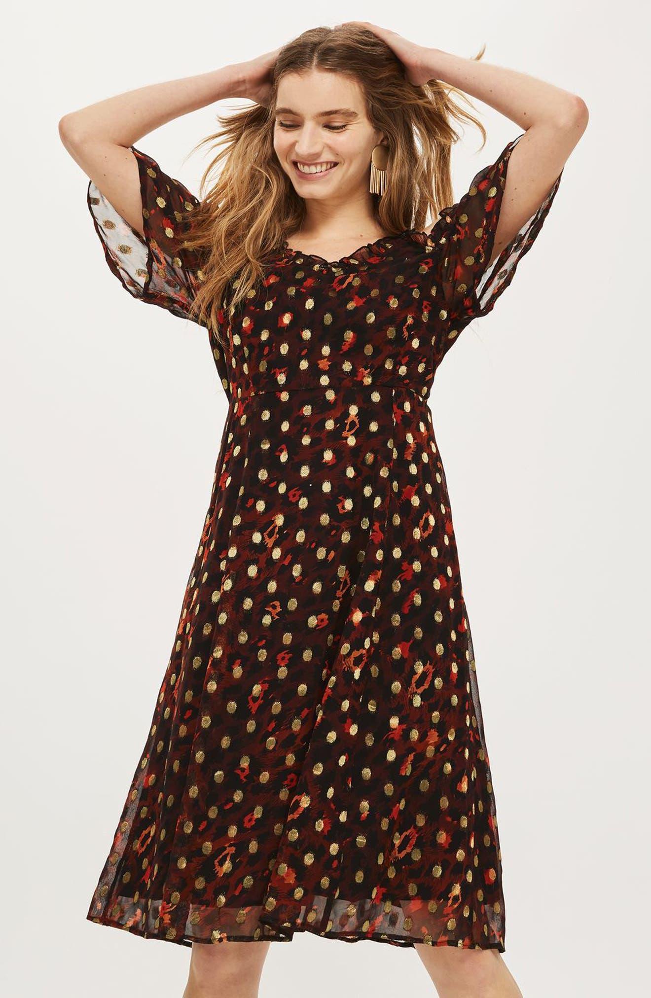 Leopard Polka Dot Cold Shoulder Dress,                             Alternate thumbnail 2, color,                             Red Multi