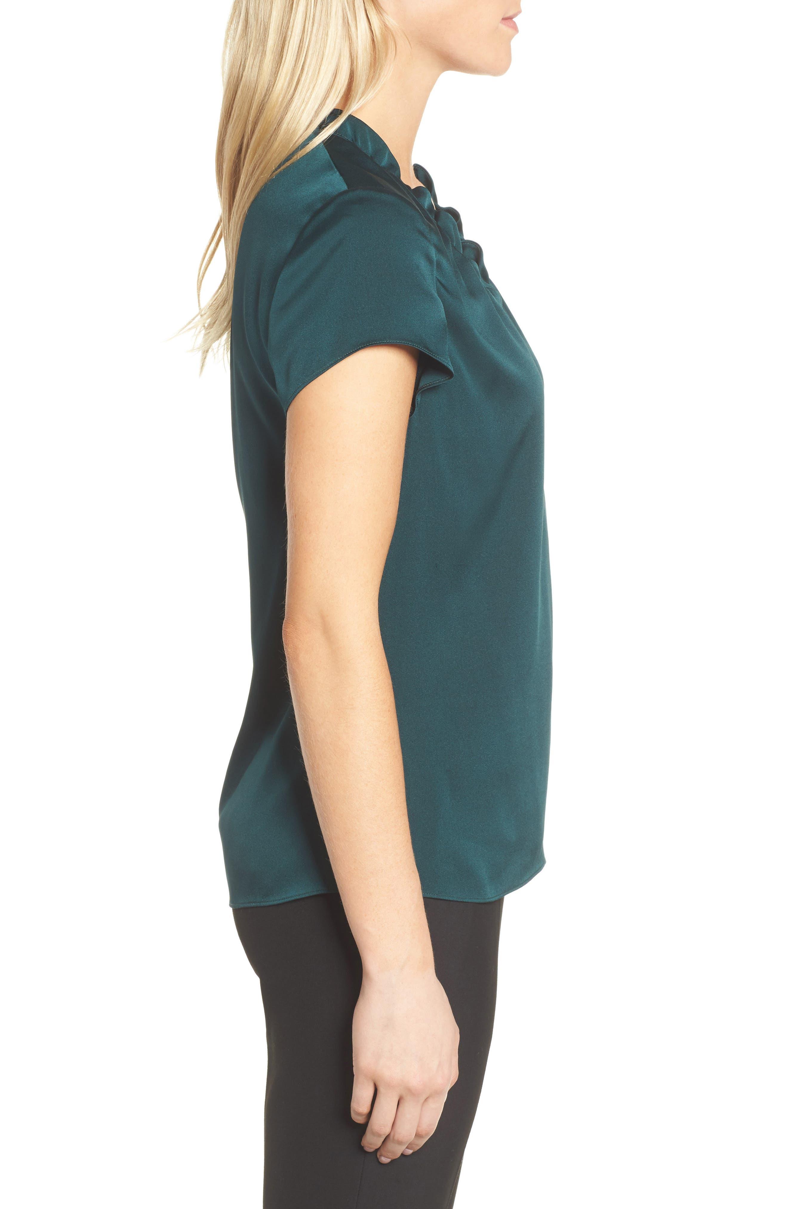 Isamara Stretch Silk Top,                             Alternate thumbnail 3, color,                             Peacock Green