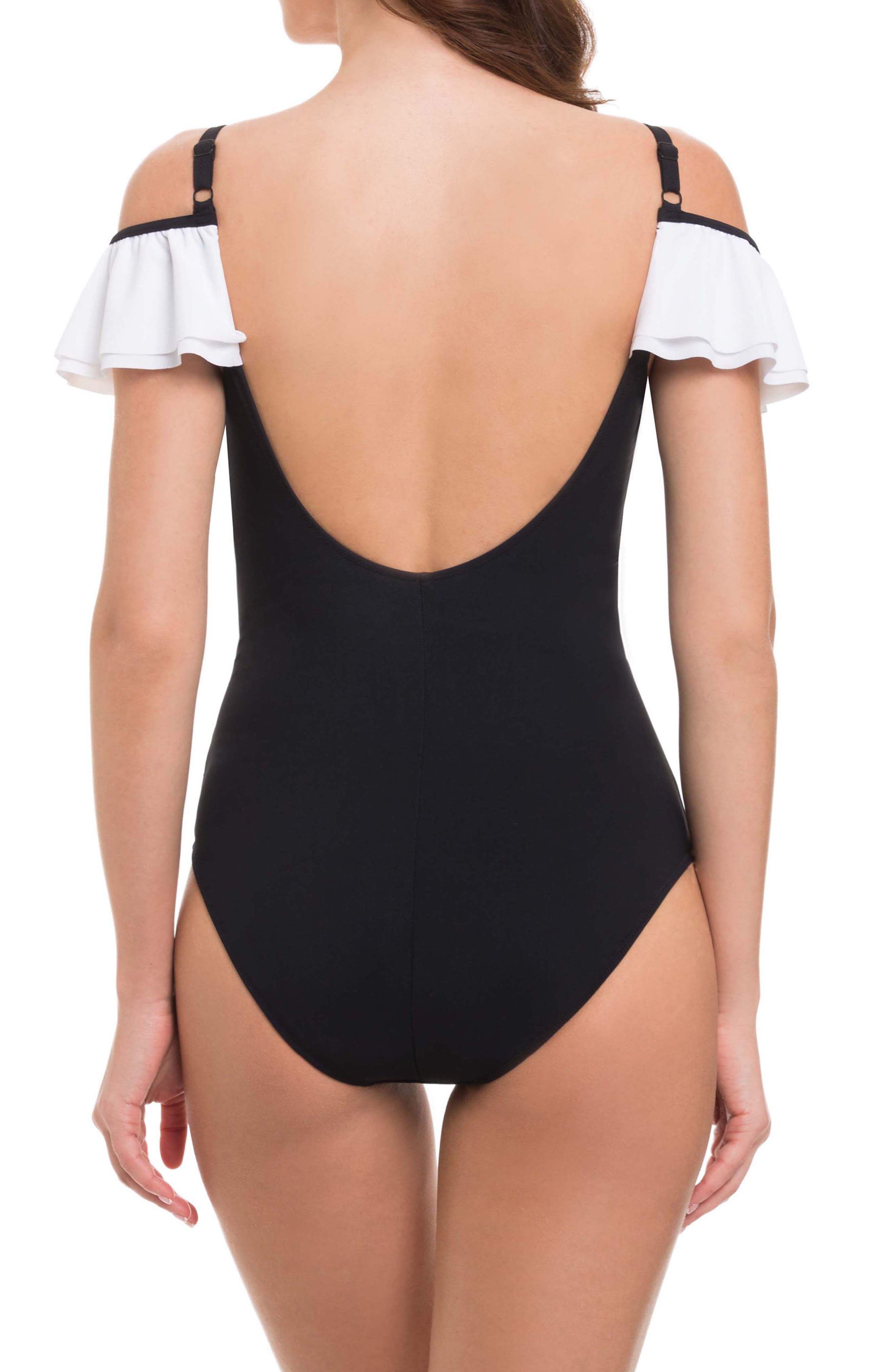 Off the Shoulder One-Piece Swimsuit,                             Alternate thumbnail 2, color,                             Black/ White