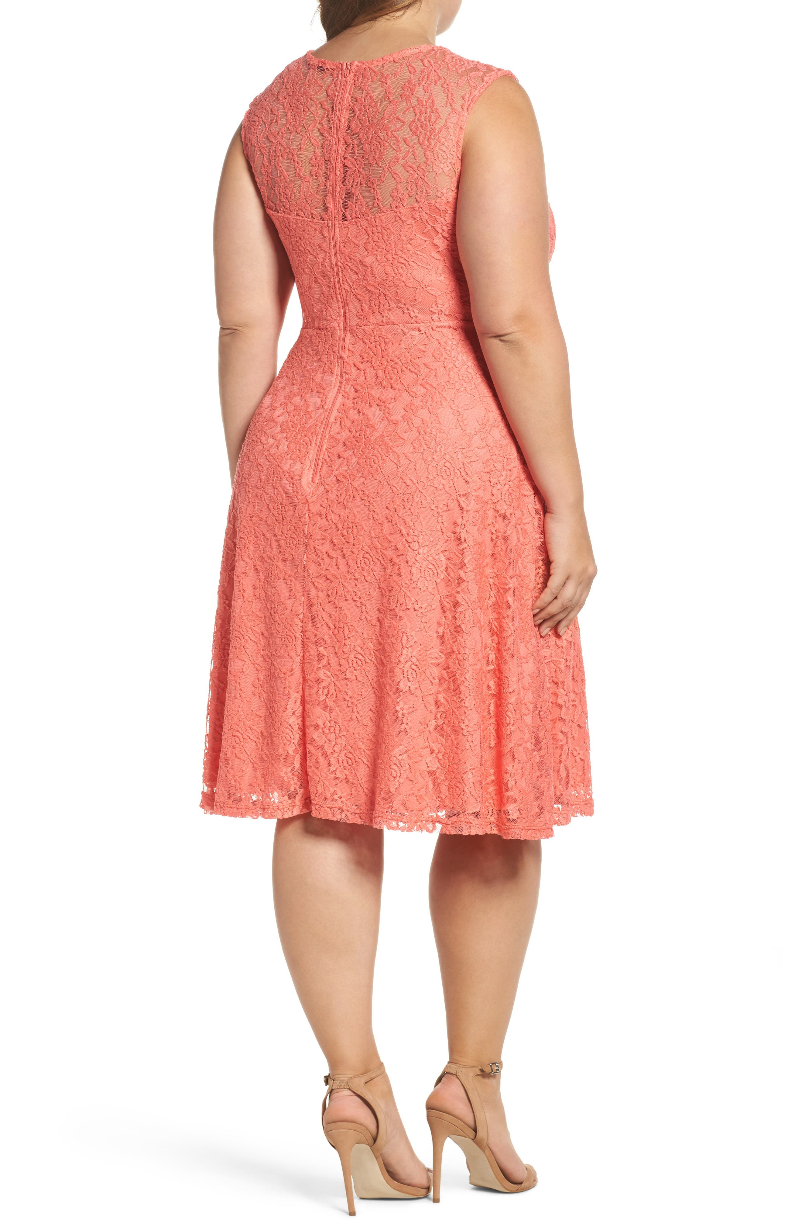 Lace Skater Dress,                             Alternate thumbnail 2, color,                             Coral