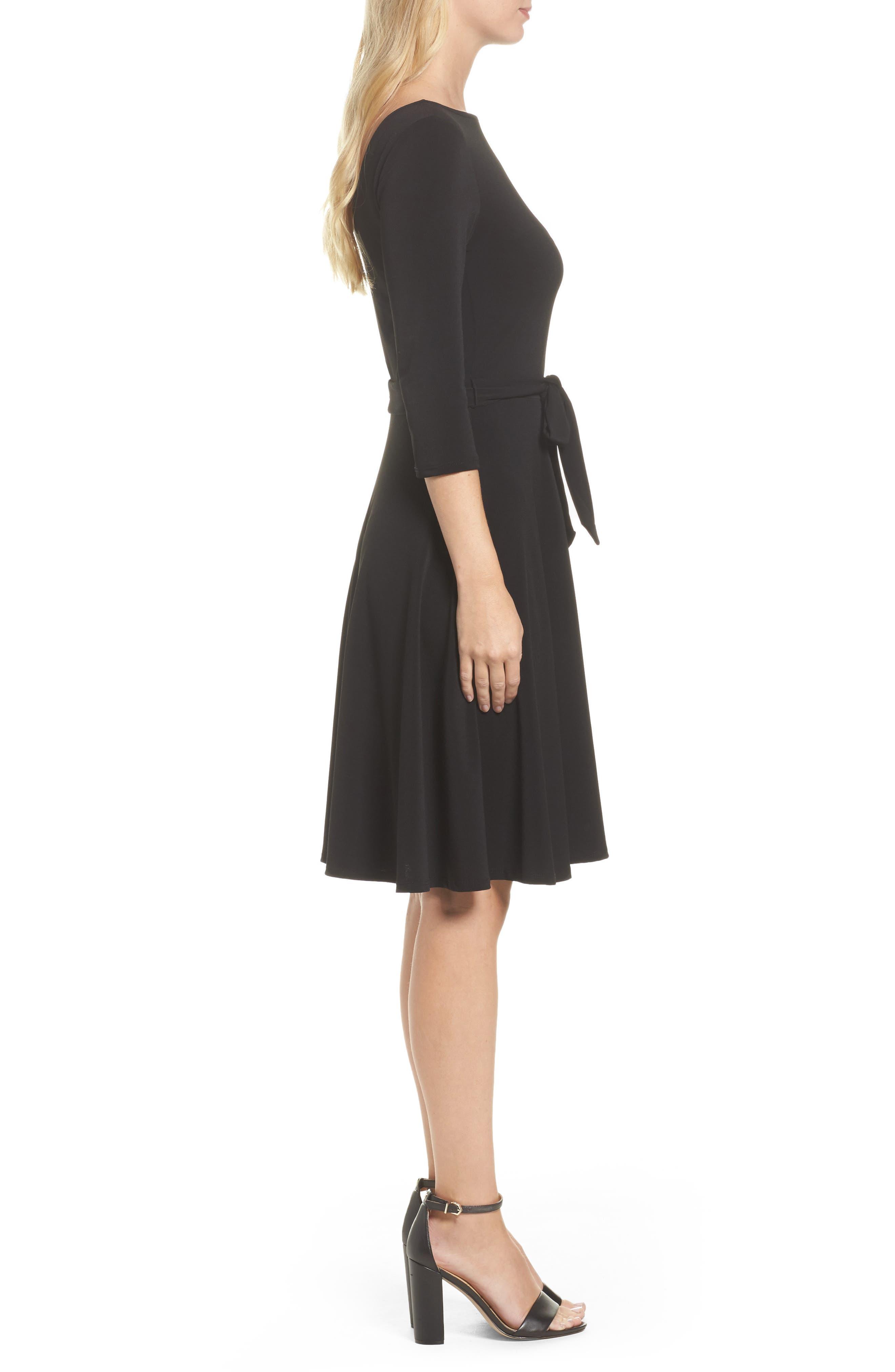 Belted Print Jersey A-Line Dress,                             Alternate thumbnail 3, color,                             Black Crepe
