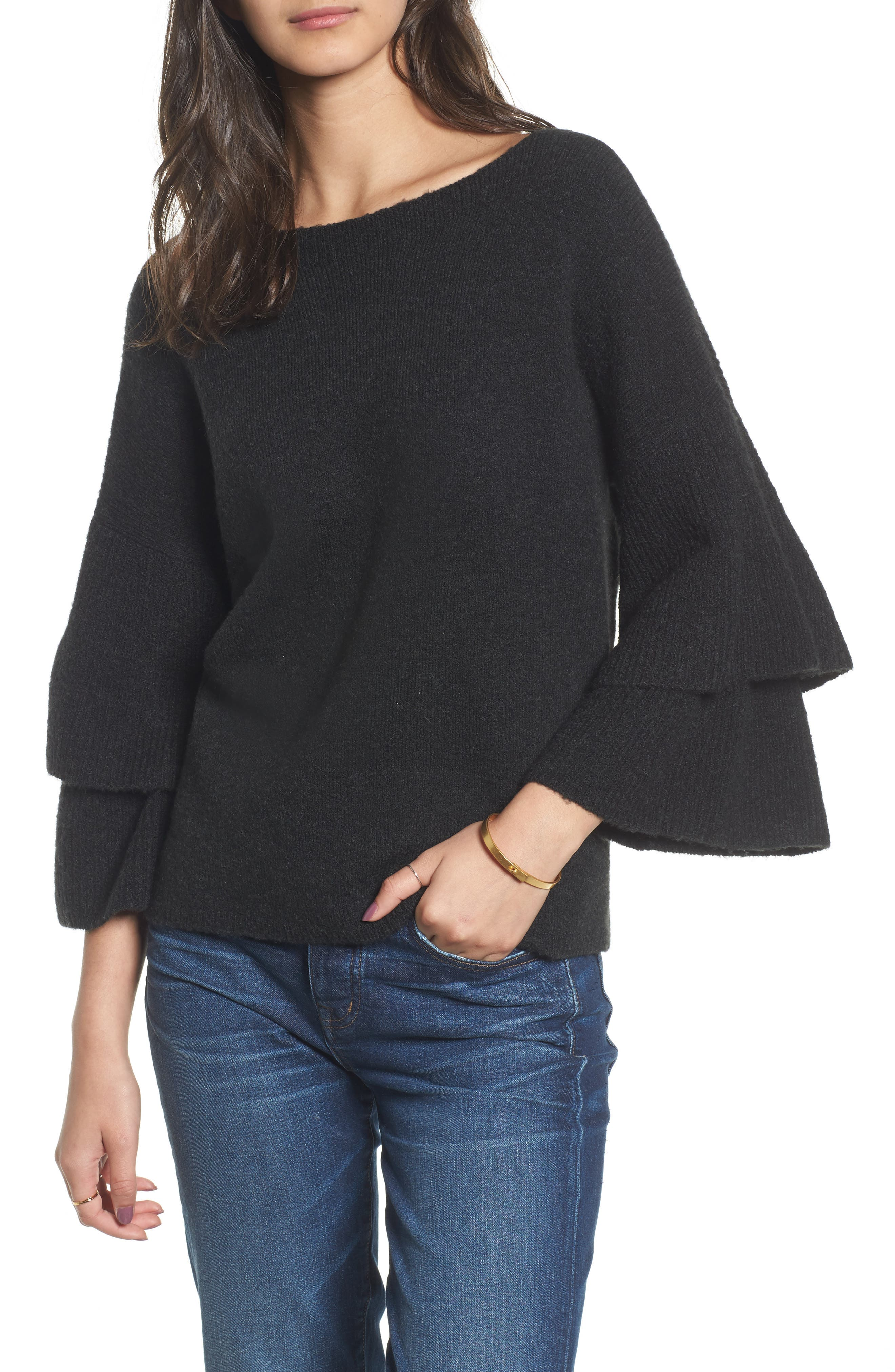 Tier Sleeve Sweater,                         Main,                         color, Hthr Metal