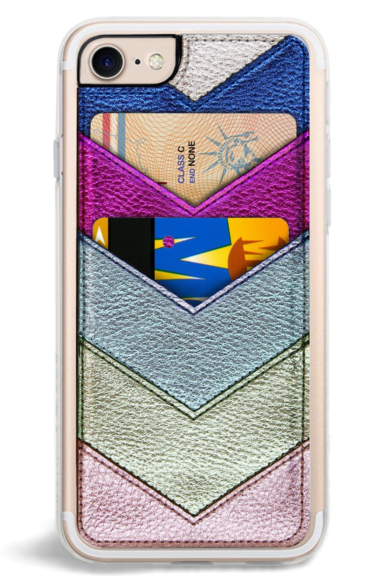 Chevron Faux Leather iPhone 6/6s/7/8 & 6/6s/7/8 Plus Case,                             Main thumbnail 1, color,                             Metallic Multi