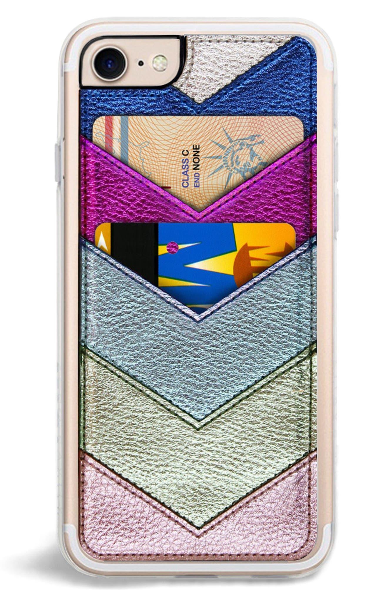 Chevron Faux Leather iPhone 6/6s/7/8 & 6/6s/7/8 Plus Case,                         Main,                         color, Metallic Multi