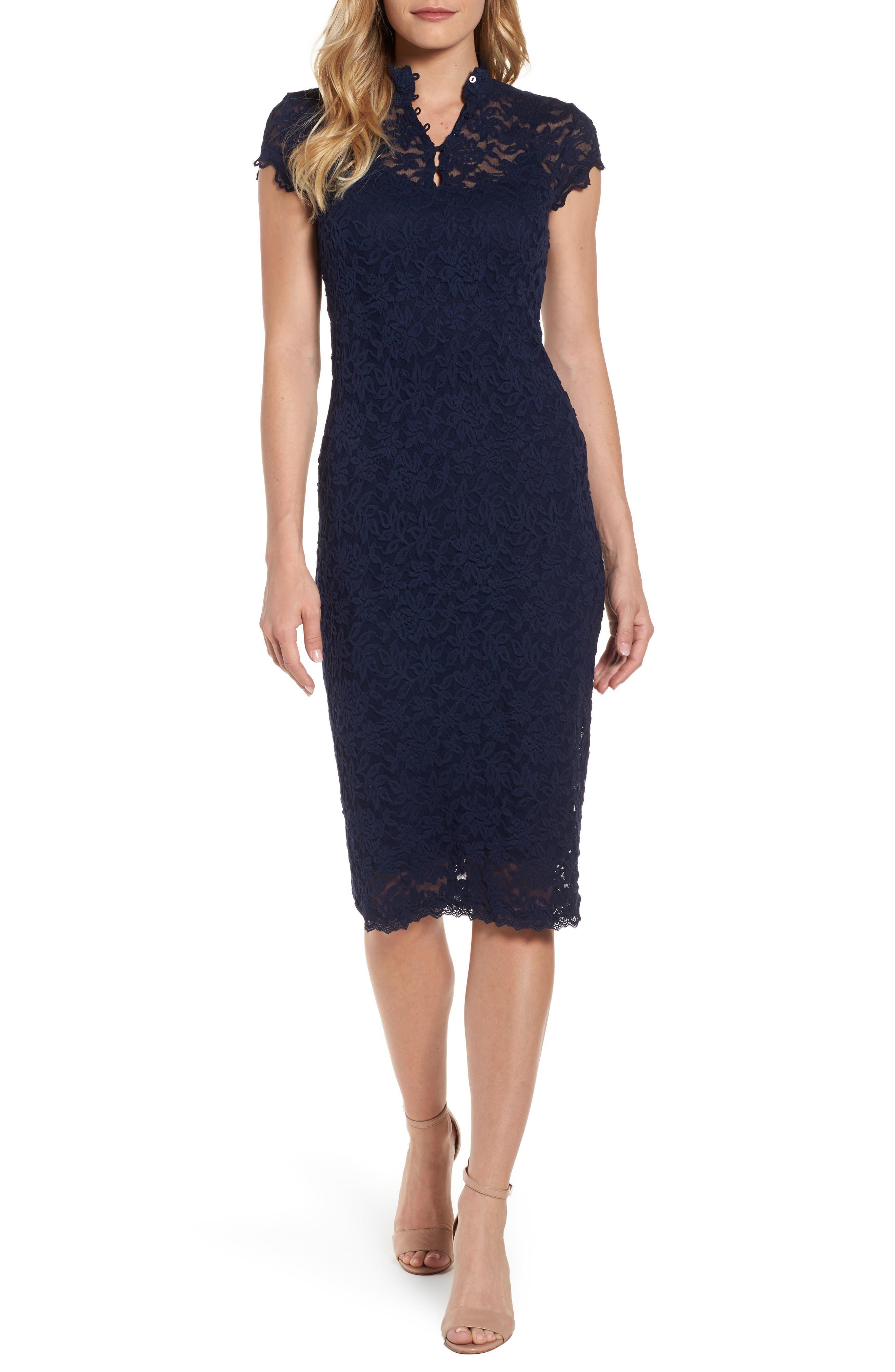 Delicia Lace Body-Con Dress,                         Main,                         color, Dark Blue
