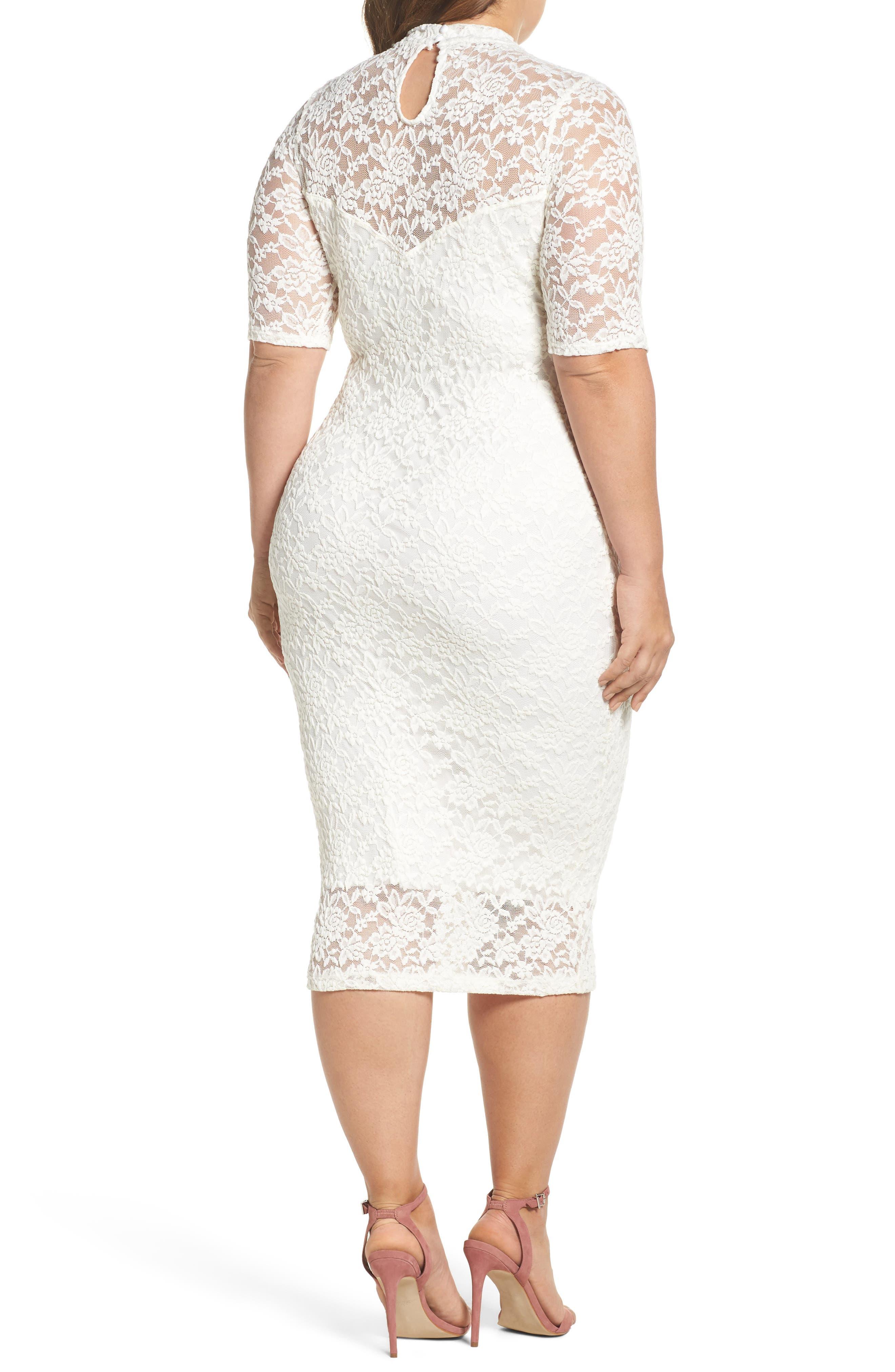 Lace Body-Con Midi Dress,                             Alternate thumbnail 2, color,                             Off White