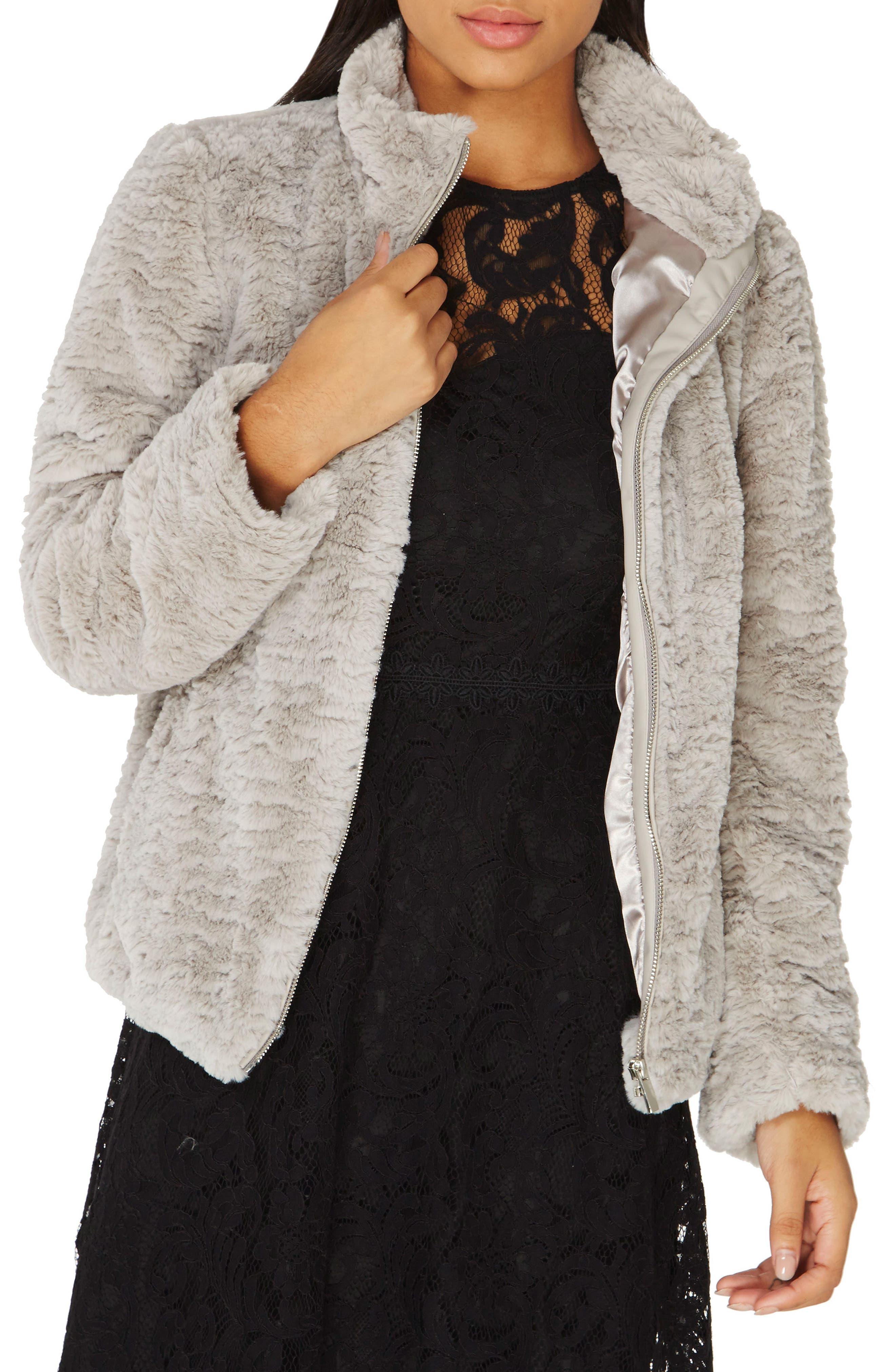 Faux Fur Funnel Collar Jacket,                             Main thumbnail 1, color,                             Silver