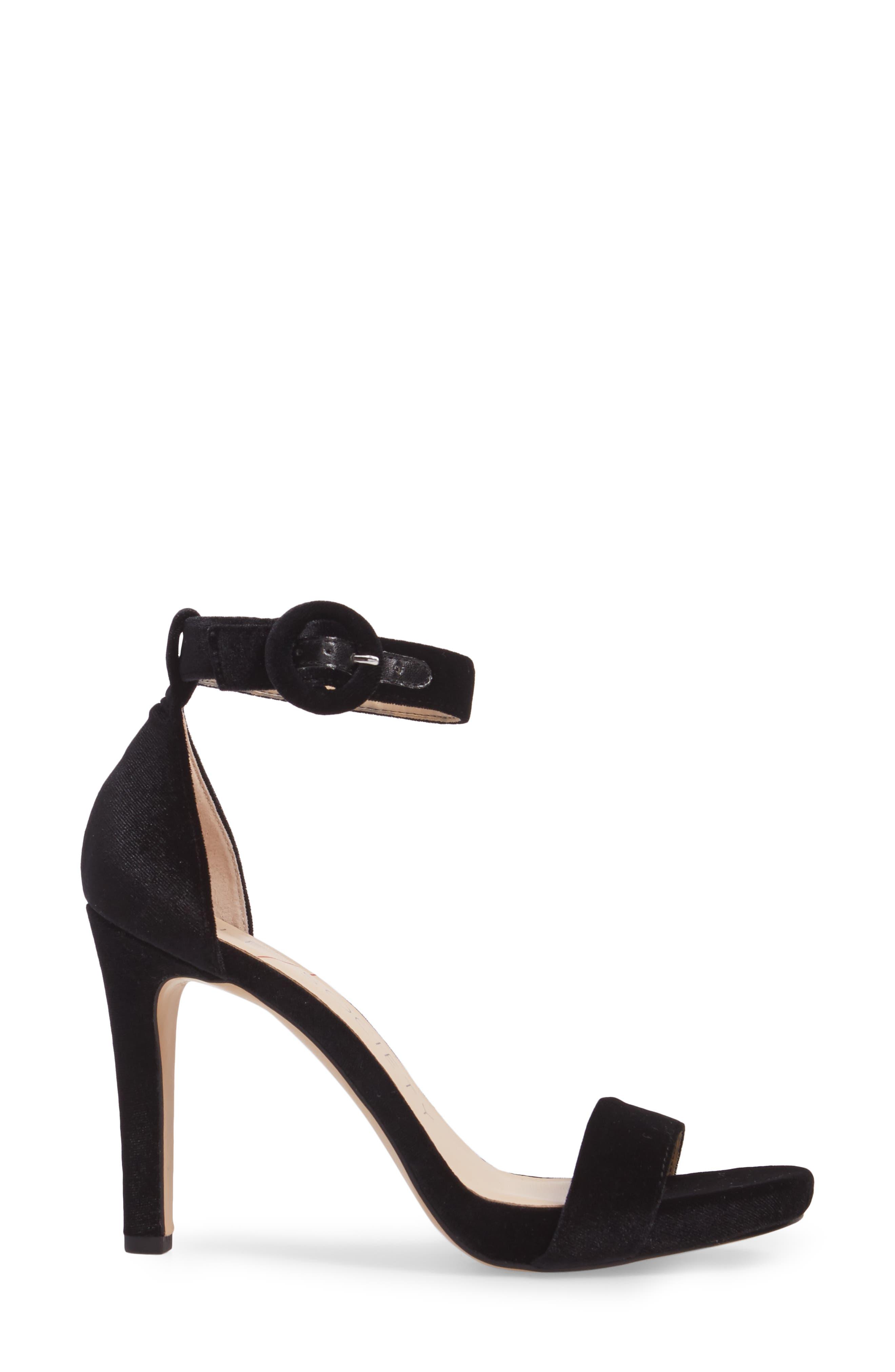Emelia Ankle Strap Sandal,                             Alternate thumbnail 3, color,                             Black