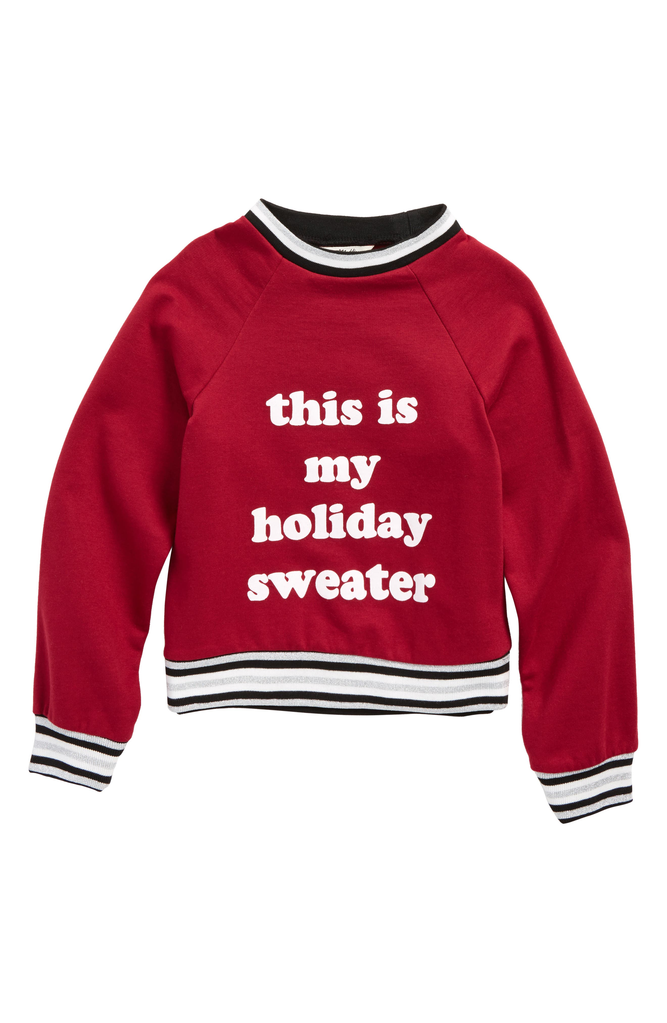 This Is My Holiday Sweater Graphic Sweatshirt,                         Main,                         color, Burgundy