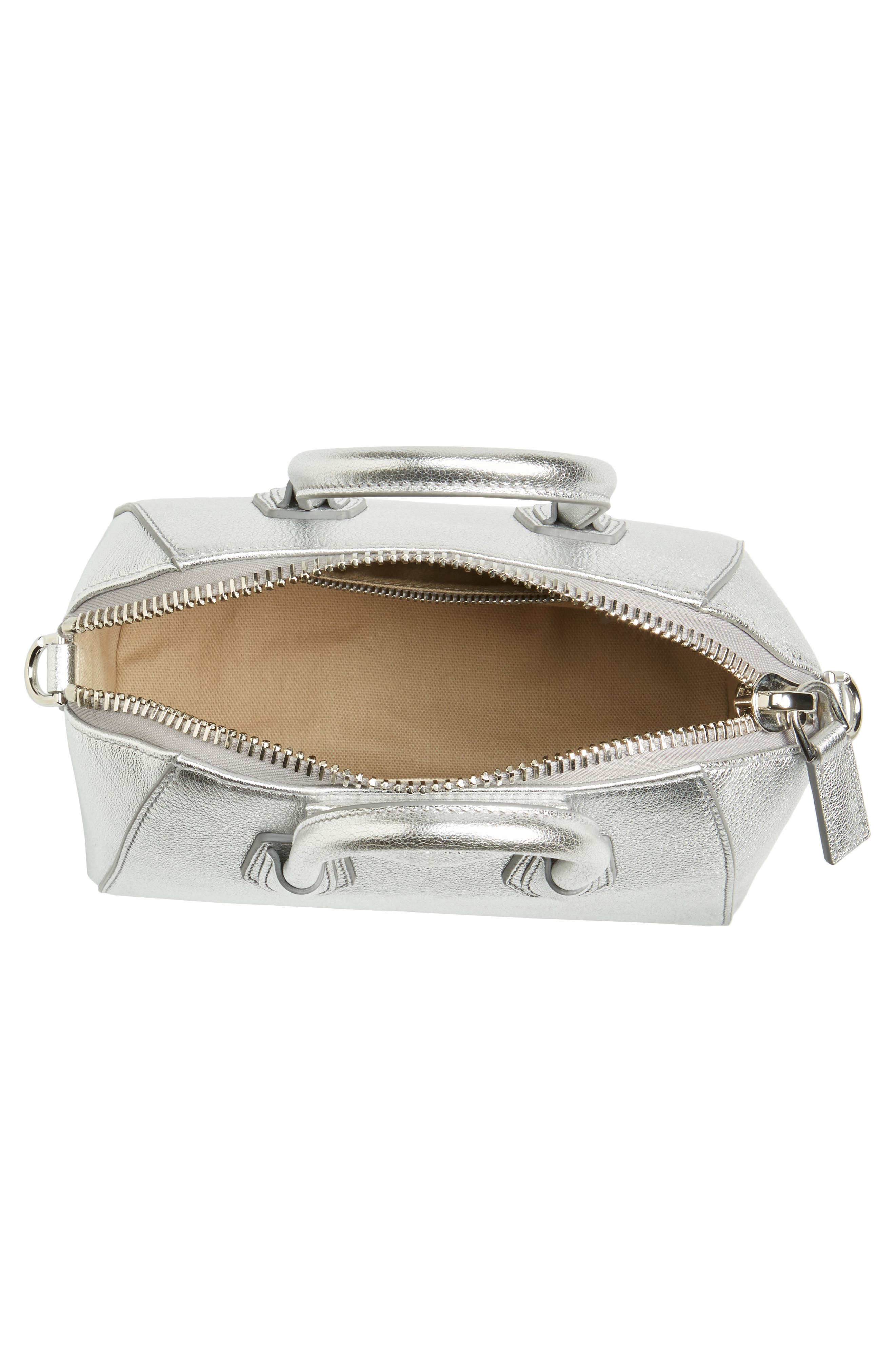 Mini Antigona Metallic Leather Satchel,                             Alternate thumbnail 3, color,                             Silver