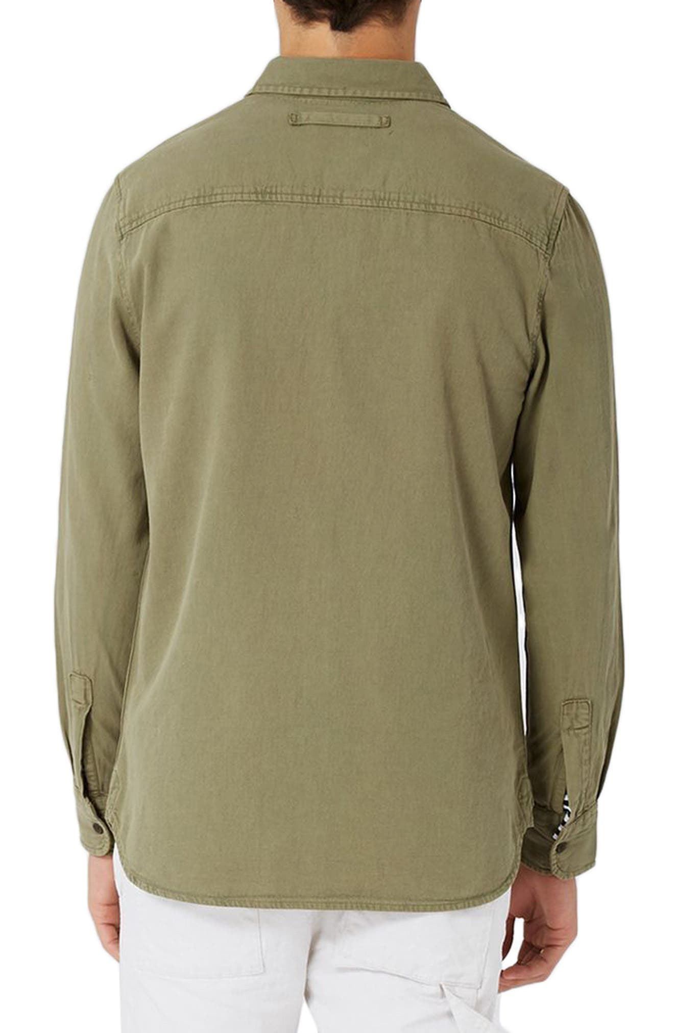 Trim Fit Washed Twill Shirt,                             Alternate thumbnail 2, color,                             Olive
