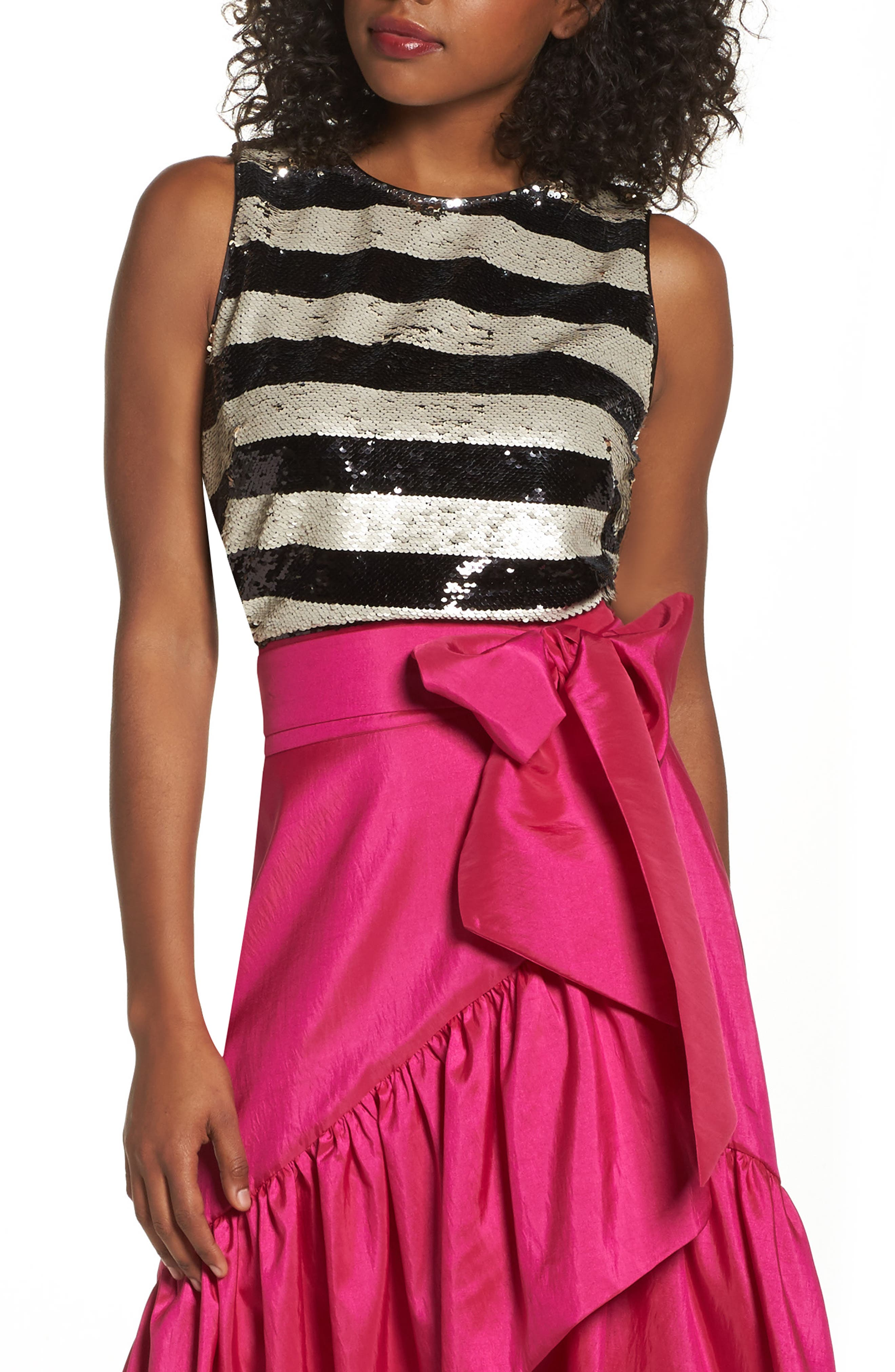 Sequin Stripe Top,                         Main,                         color, Black Ivory