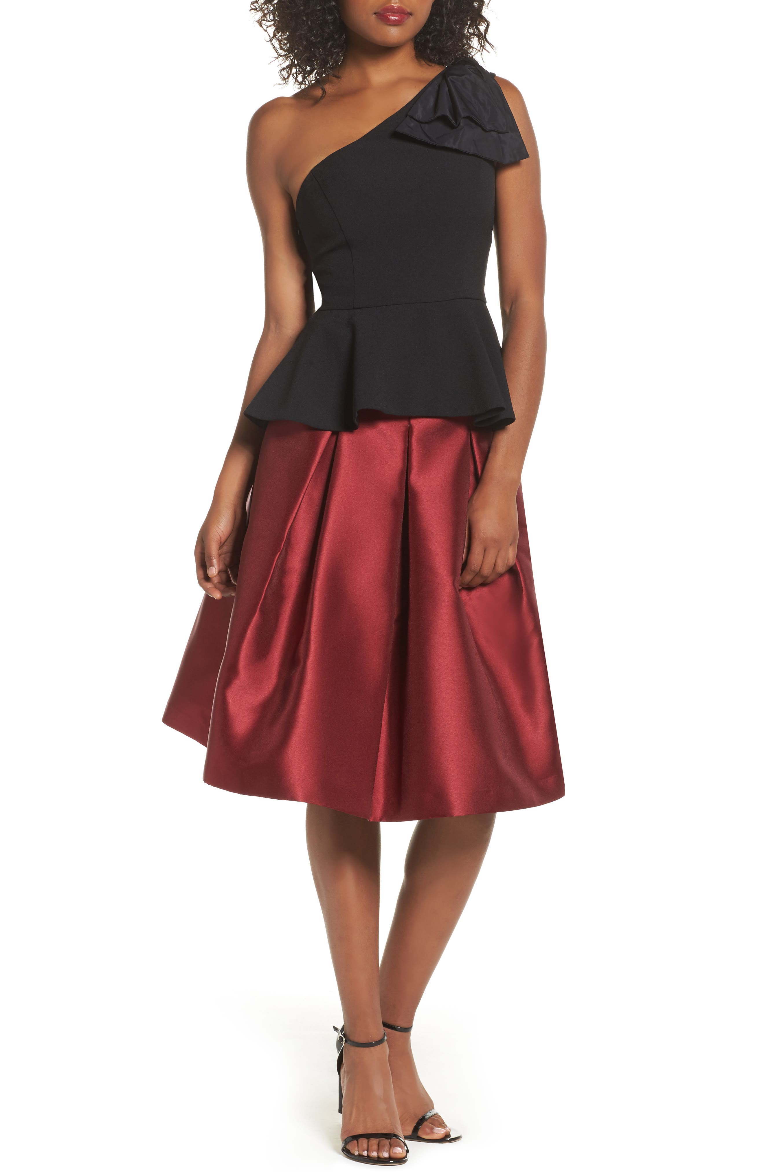 Pleated Mikado Skirt,                             Alternate thumbnail 2, color,                             Red