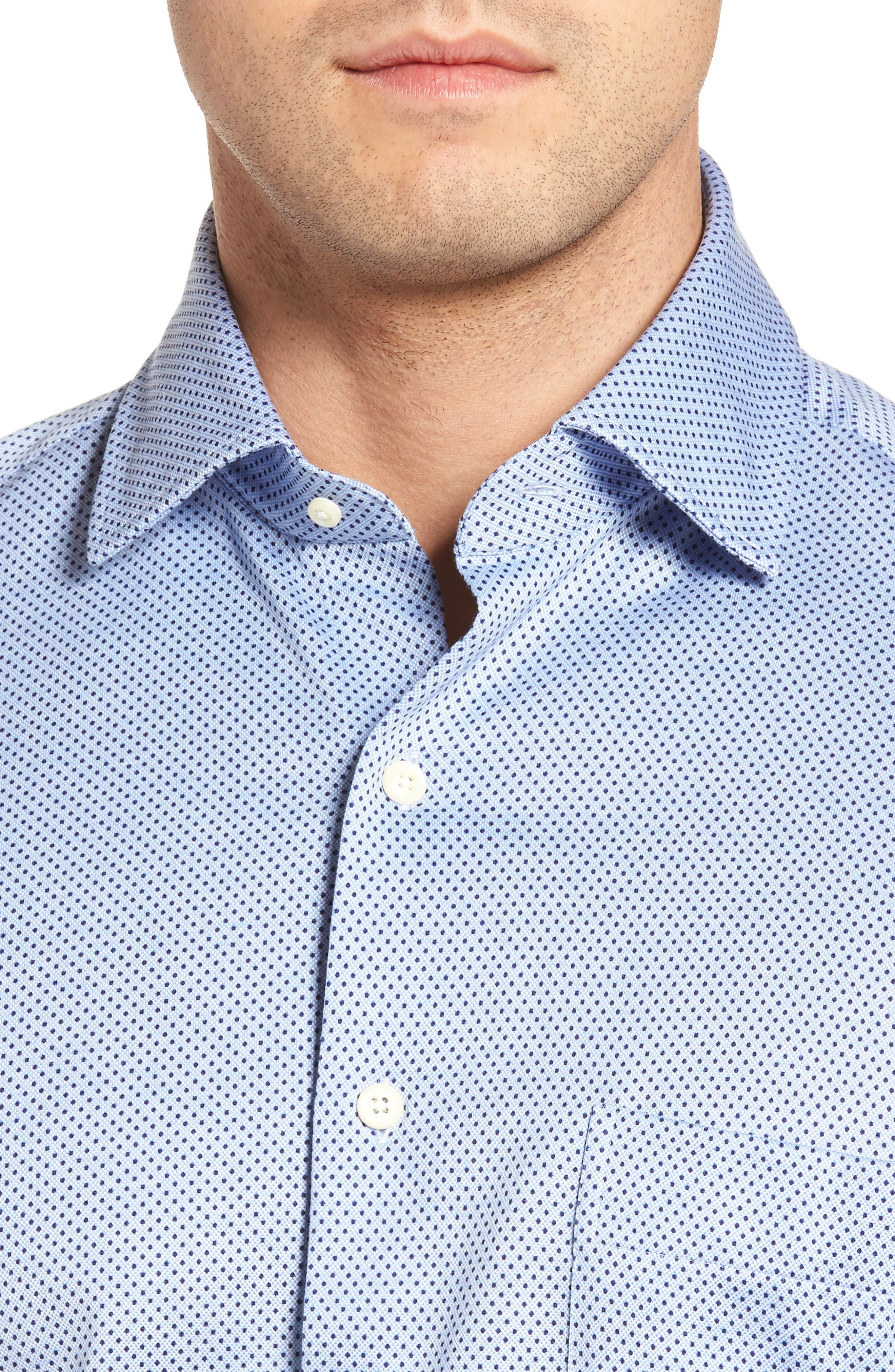 Mesh Dot Classic Fit Sport Shirt,                             Alternate thumbnail 4, color,                             Tar Heel Blue