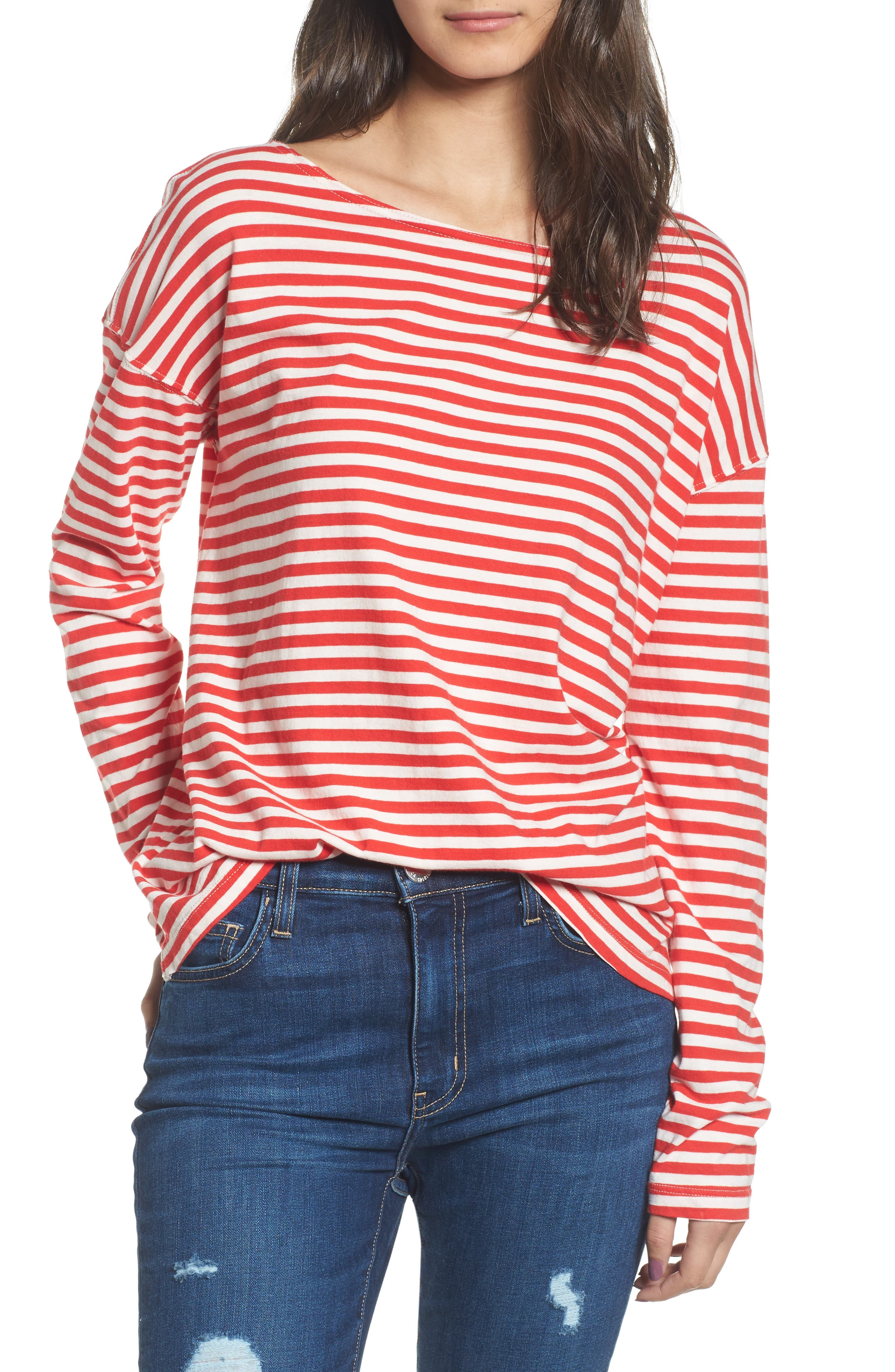 Classic Fit Breton Stripe T-Shirt,                         Main,                         color, Red White Stripe
