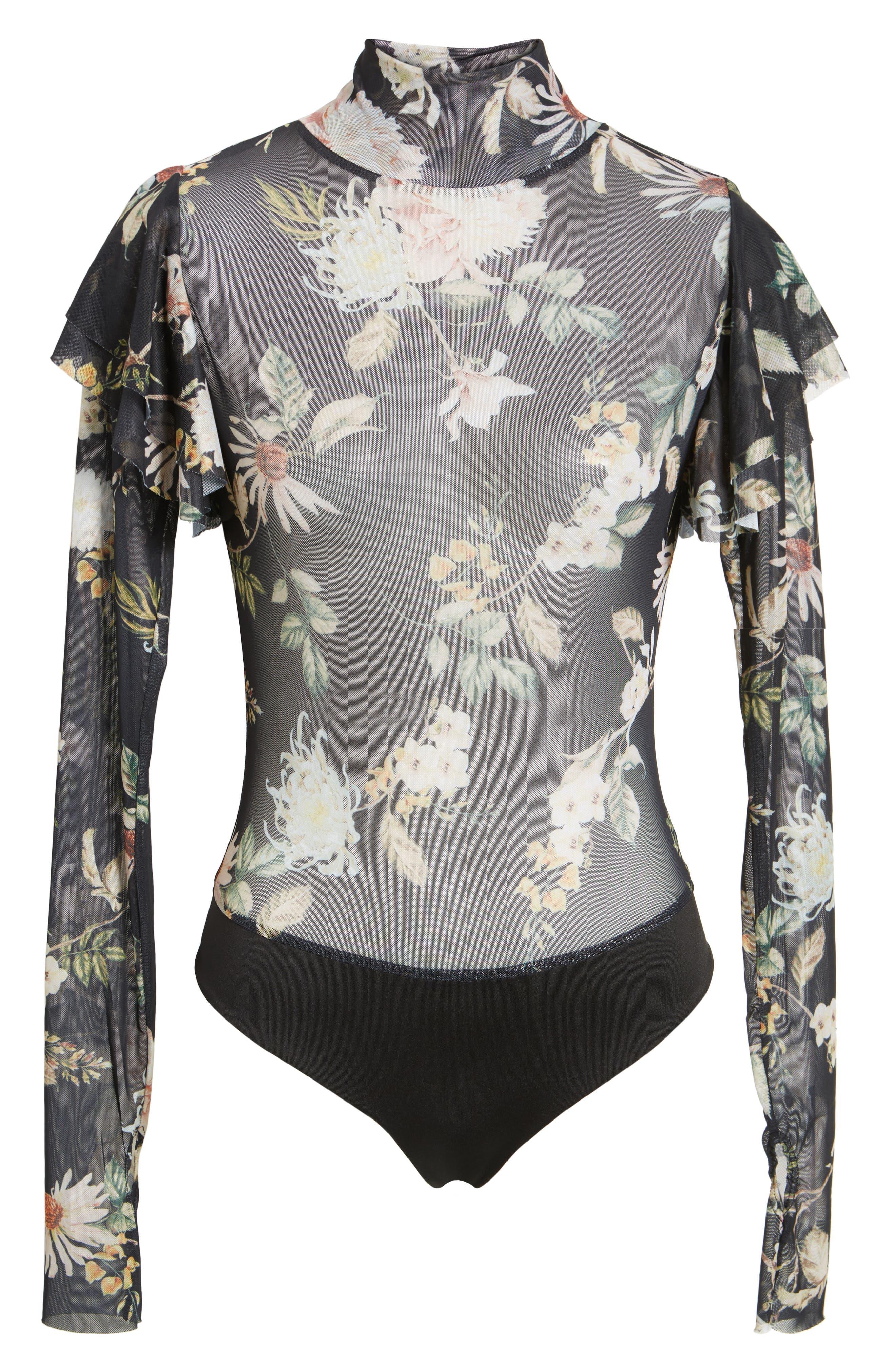 Esme Ruffle Mesh Bodysuit,                             Alternate thumbnail 6, color,                             Noir Floral