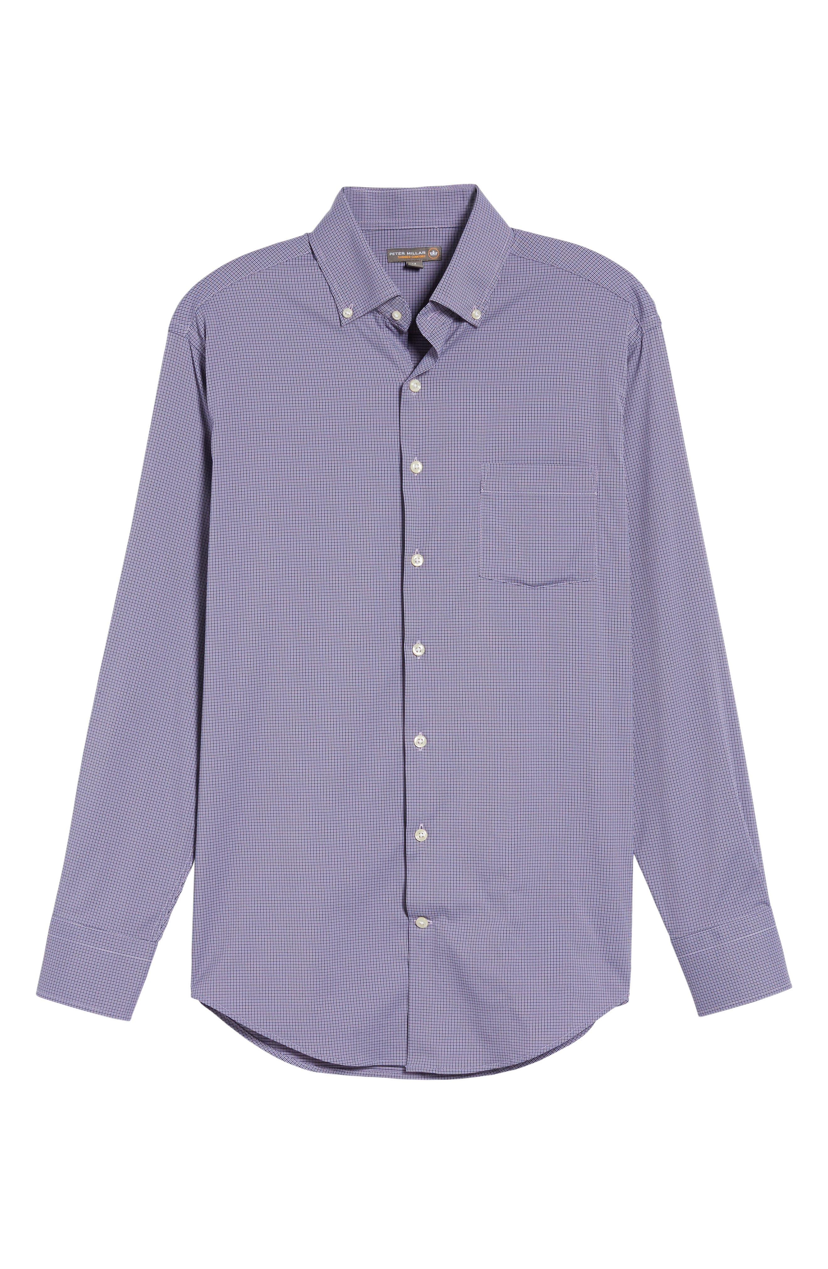 Parsons Check Performance Sport Shirt,                             Alternate thumbnail 6, color,                             Muscadine