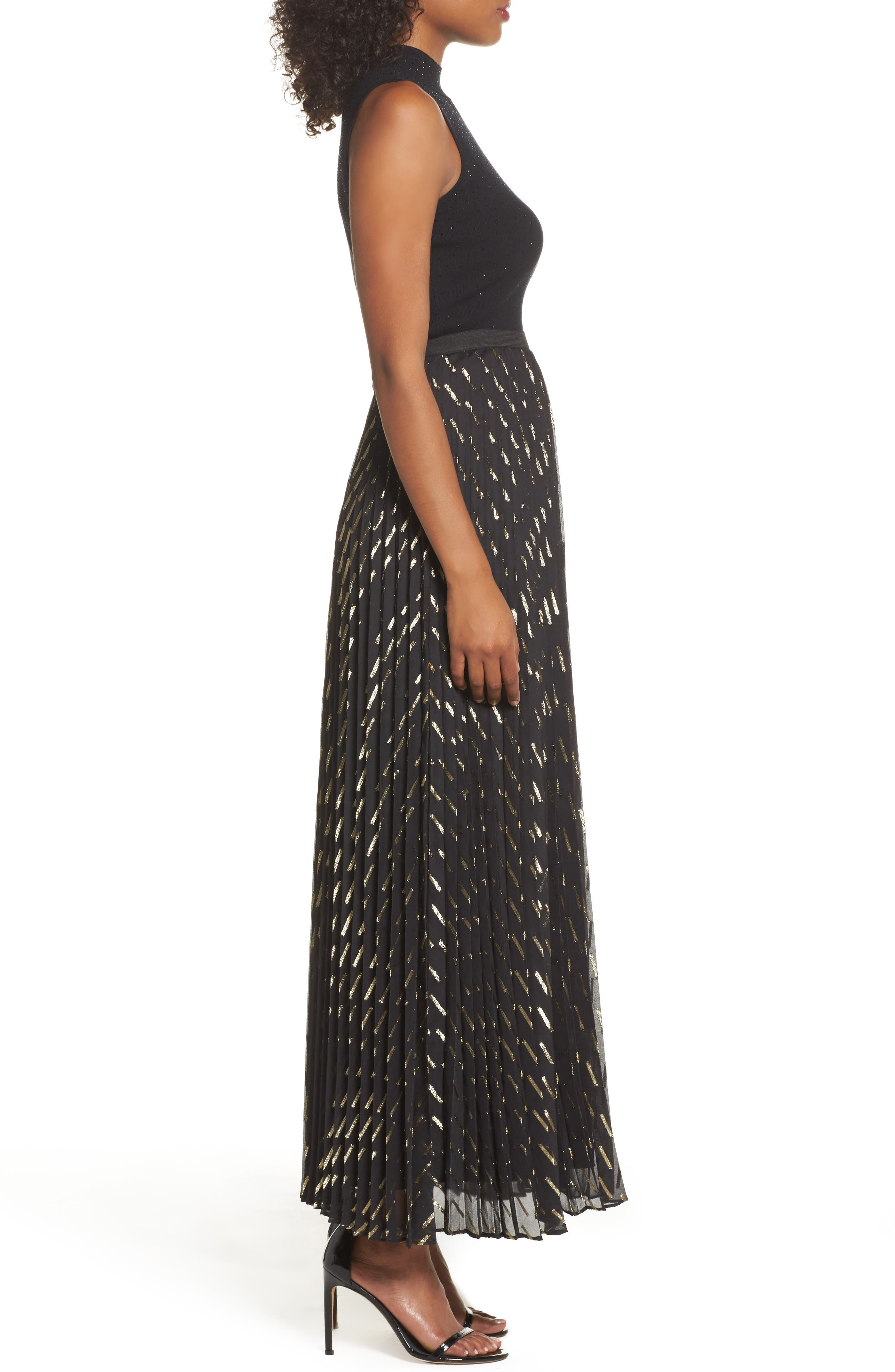 Metallic Detail Pleated Chiffon Maxi Skirt,                             Alternate thumbnail 5, color,                             Black Gold