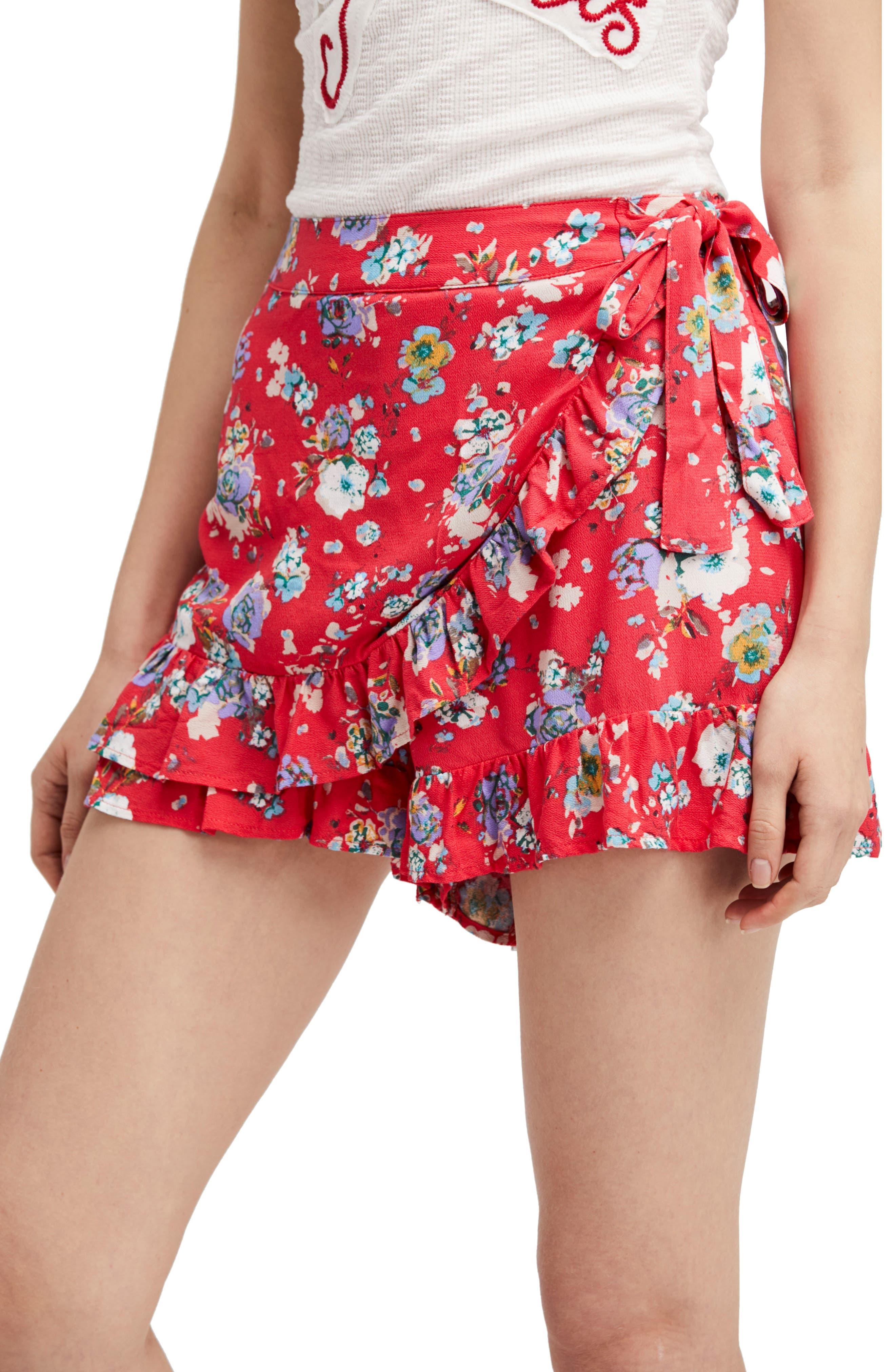 Flirting Fleurs Mini Skort,                         Main,                         color, Red