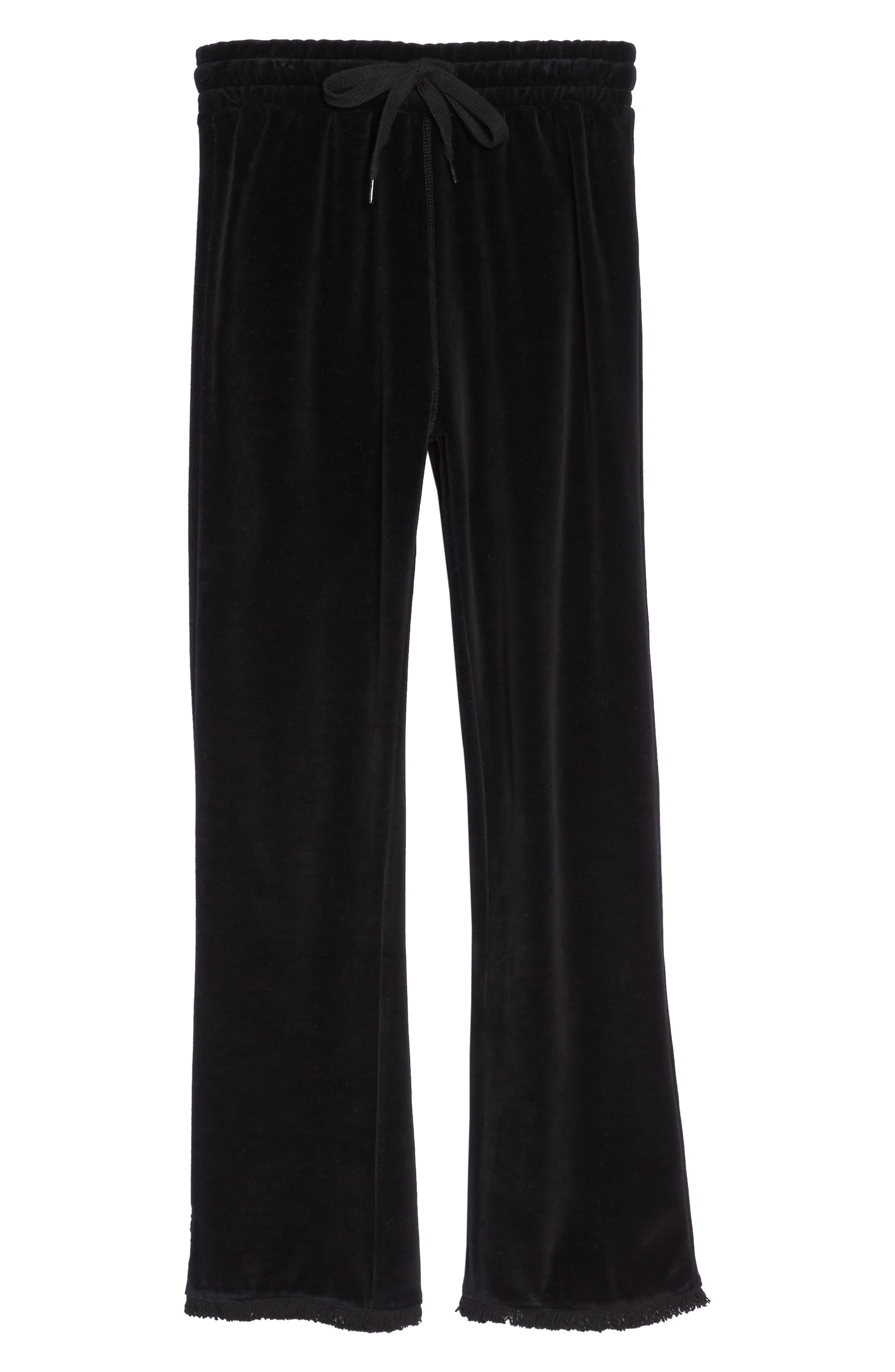 Crop Velour Lounge Pants,                             Alternate thumbnail 6, color,                             Black
