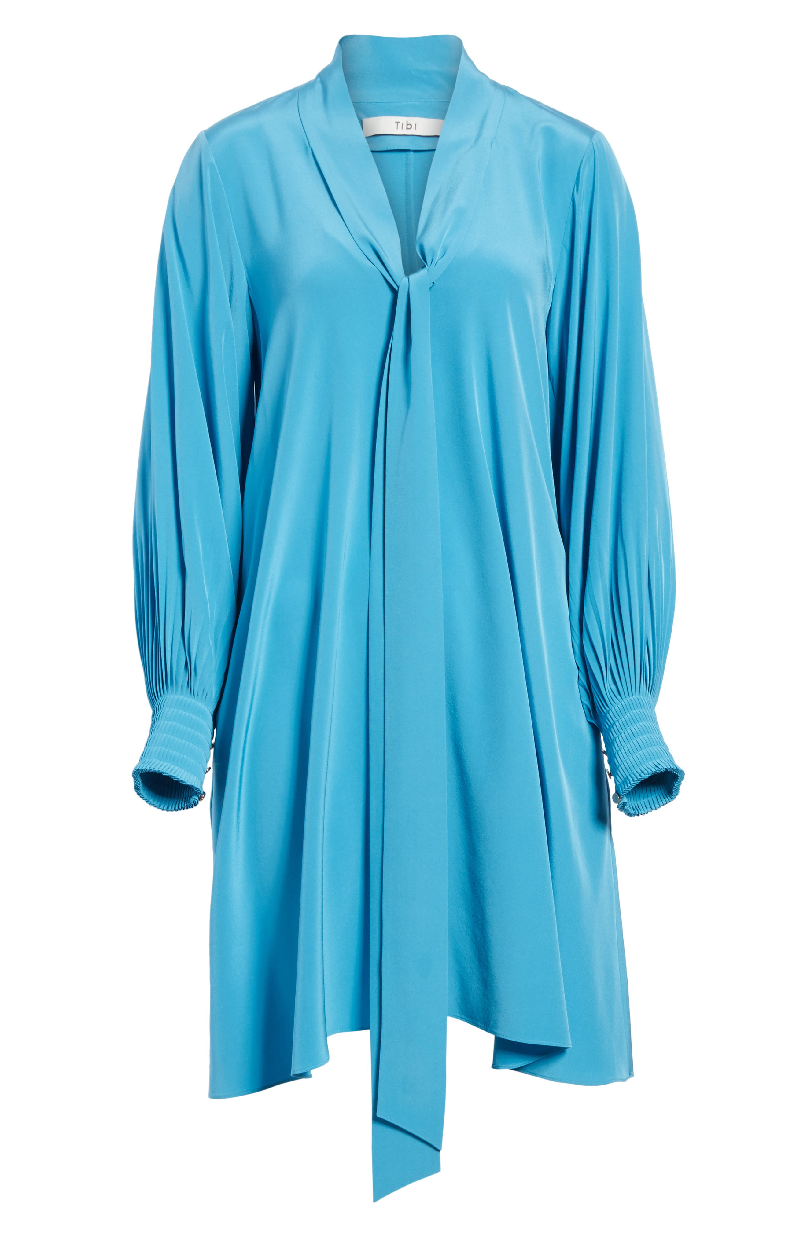 Arielle Tie Front Silk Shift Dress,                             Alternate thumbnail 6, color,                             Bowery Blue