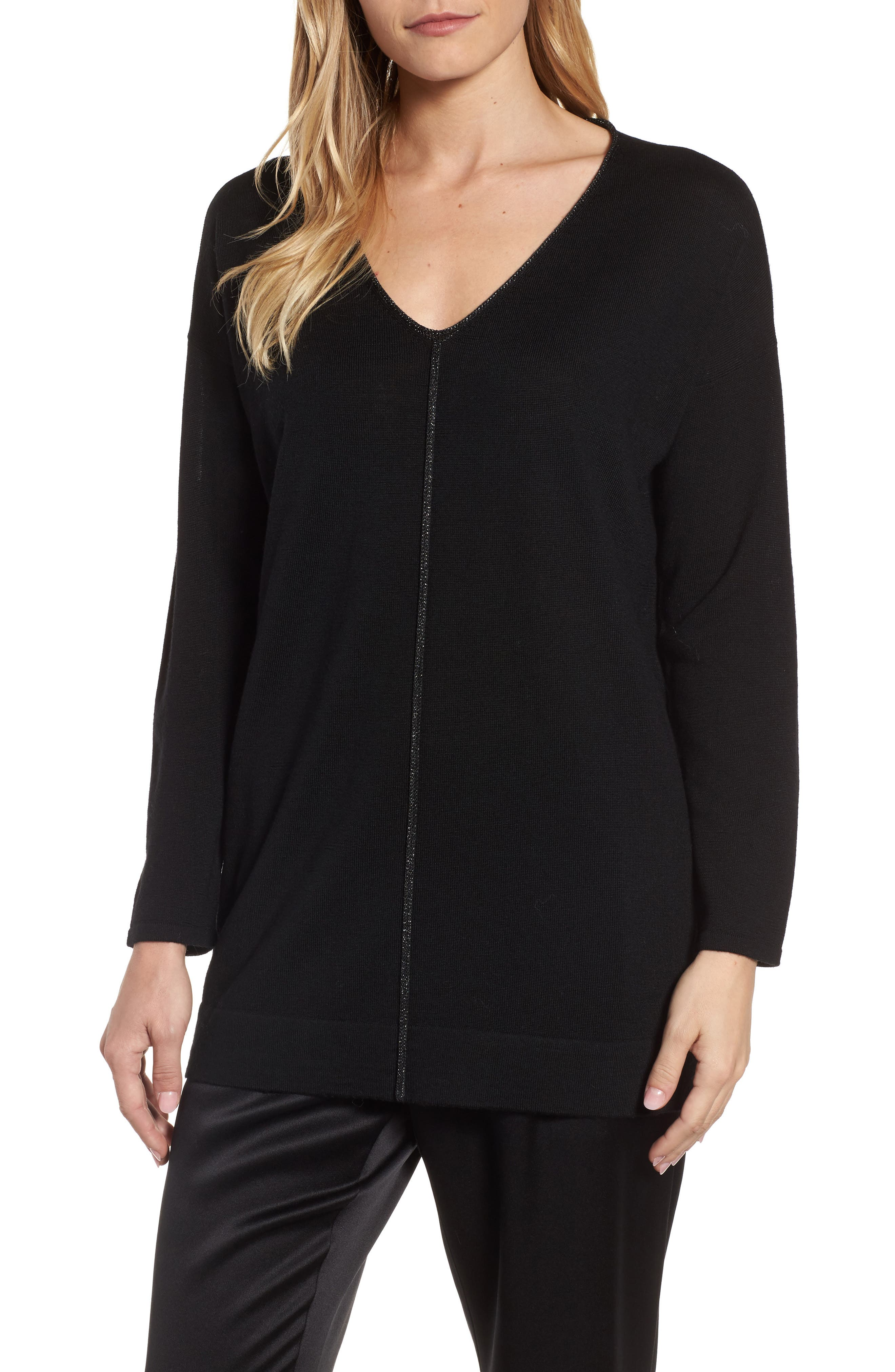 Metallic Trim Merino Wool Blend Sweater,                         Main,                         color, Black