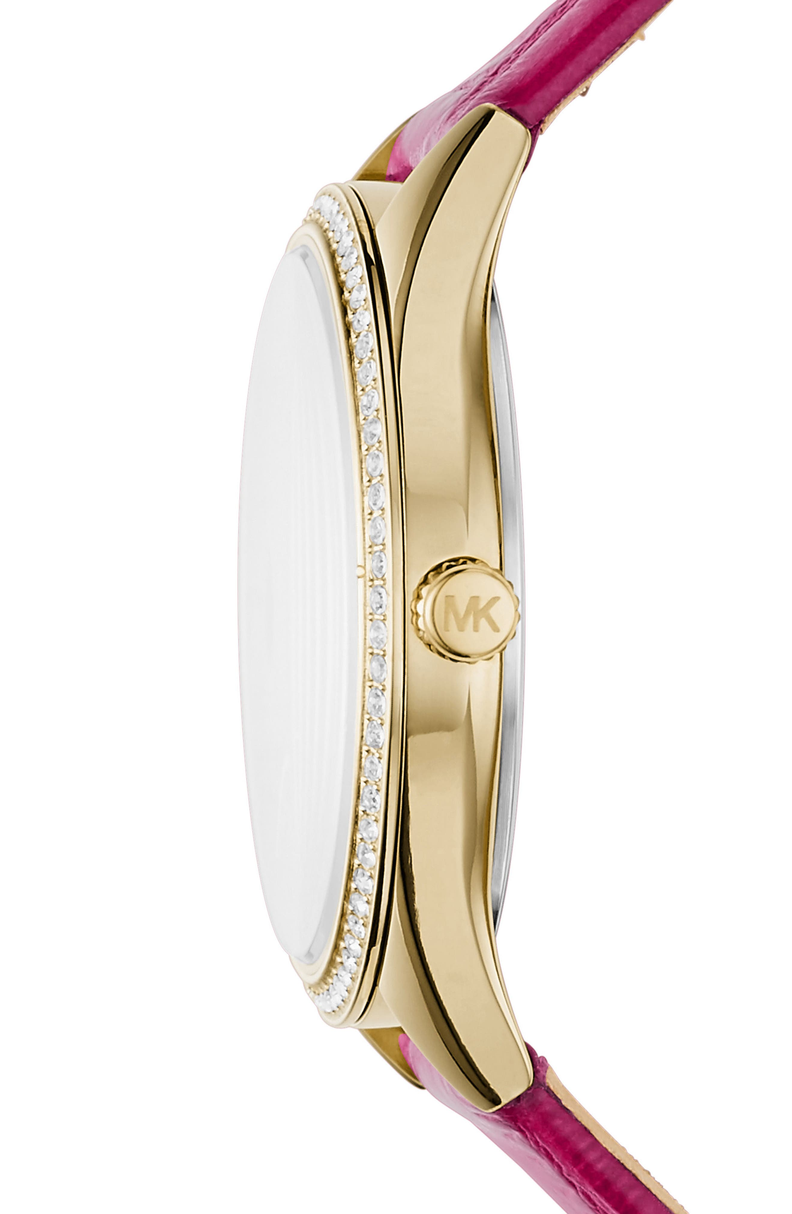 Alternate Image 2  - Michael Kors Mini Lauryn Leather Strap Watch, 33mm