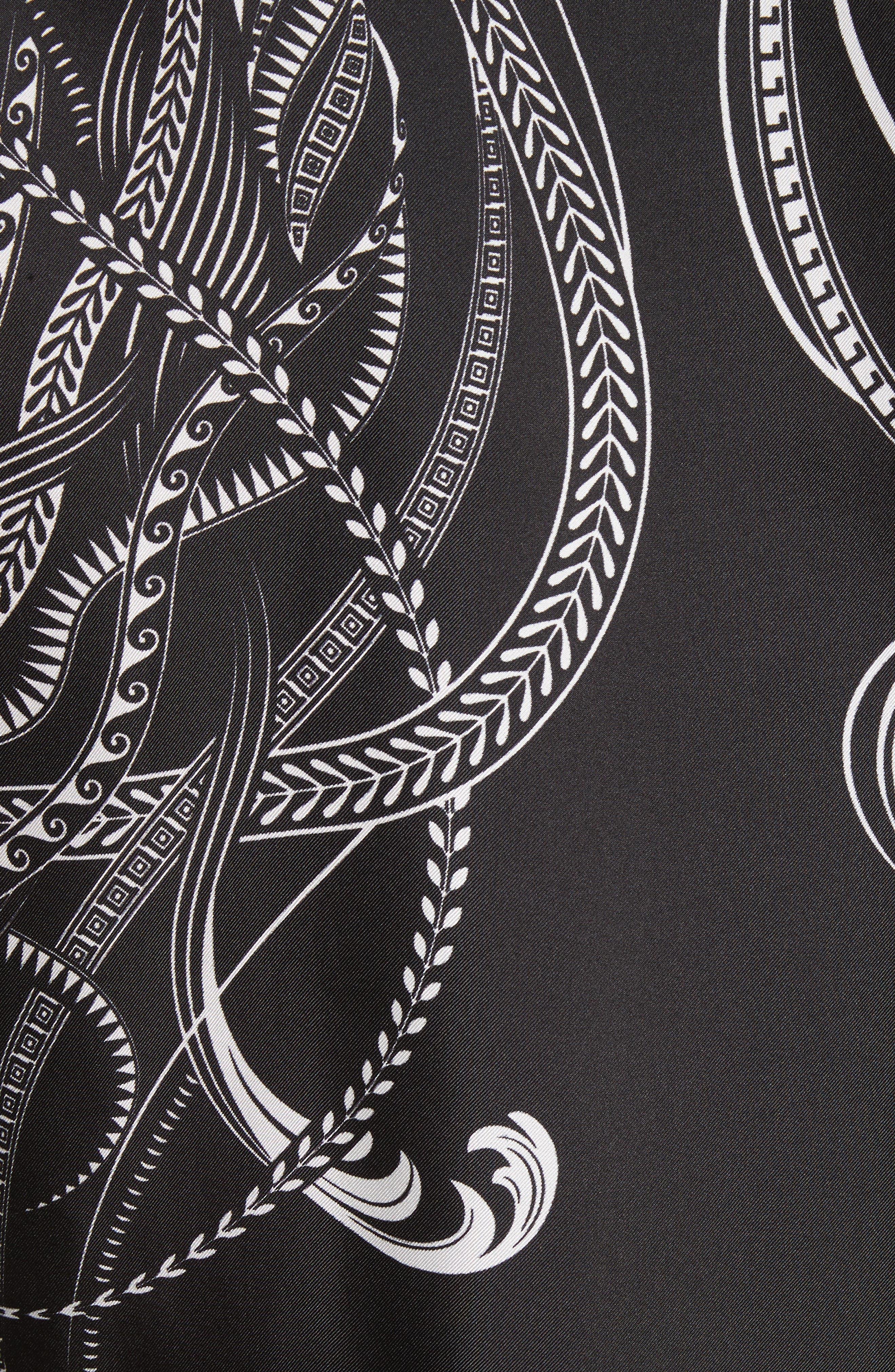 Print Silk Shirt,                             Alternate thumbnail 5, color,                             Black Paint