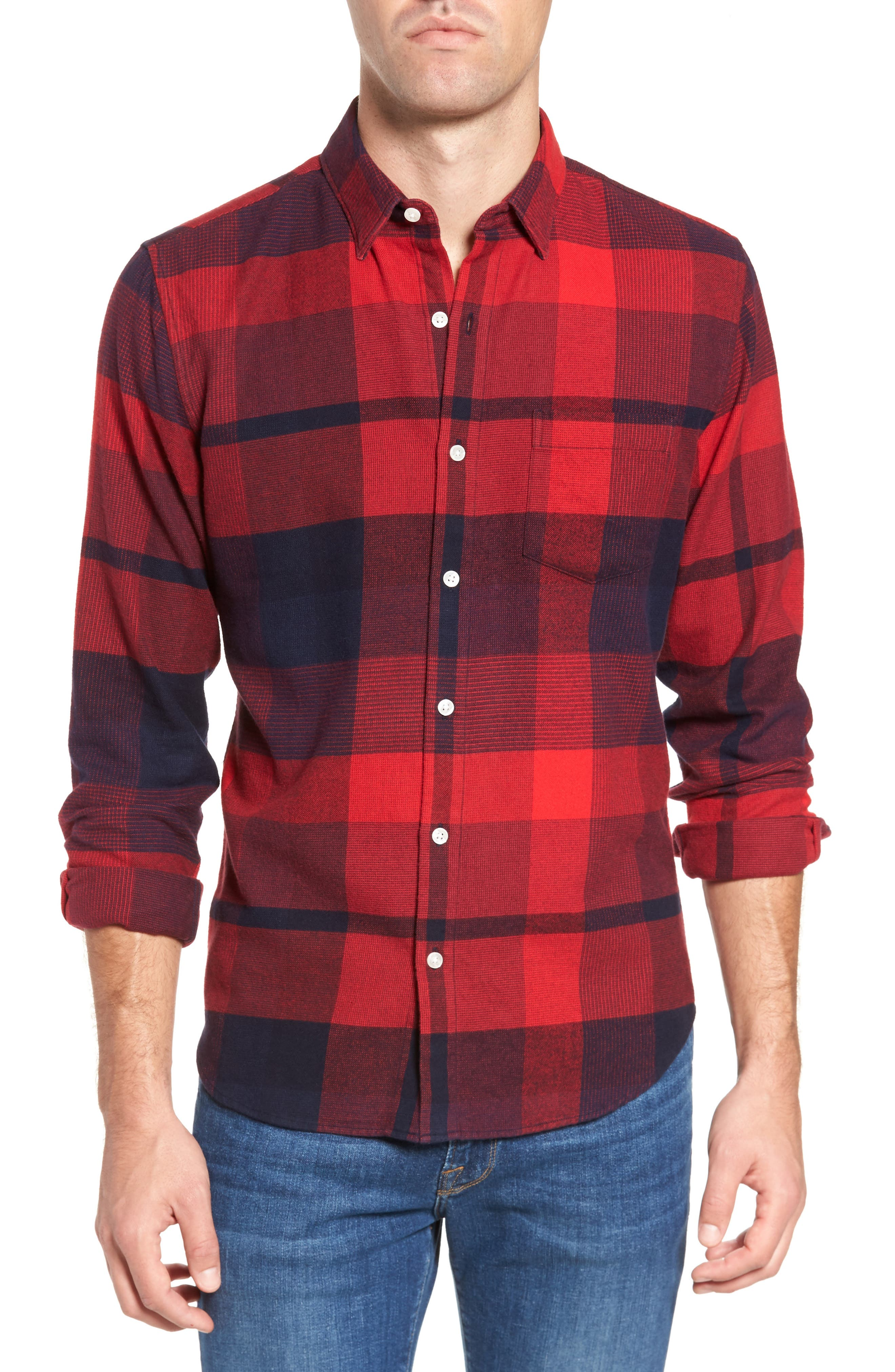 Slim Fit Brushed Plaid Sport Shirt,                             Main thumbnail 1, color,                             Big Check/ Firecracker