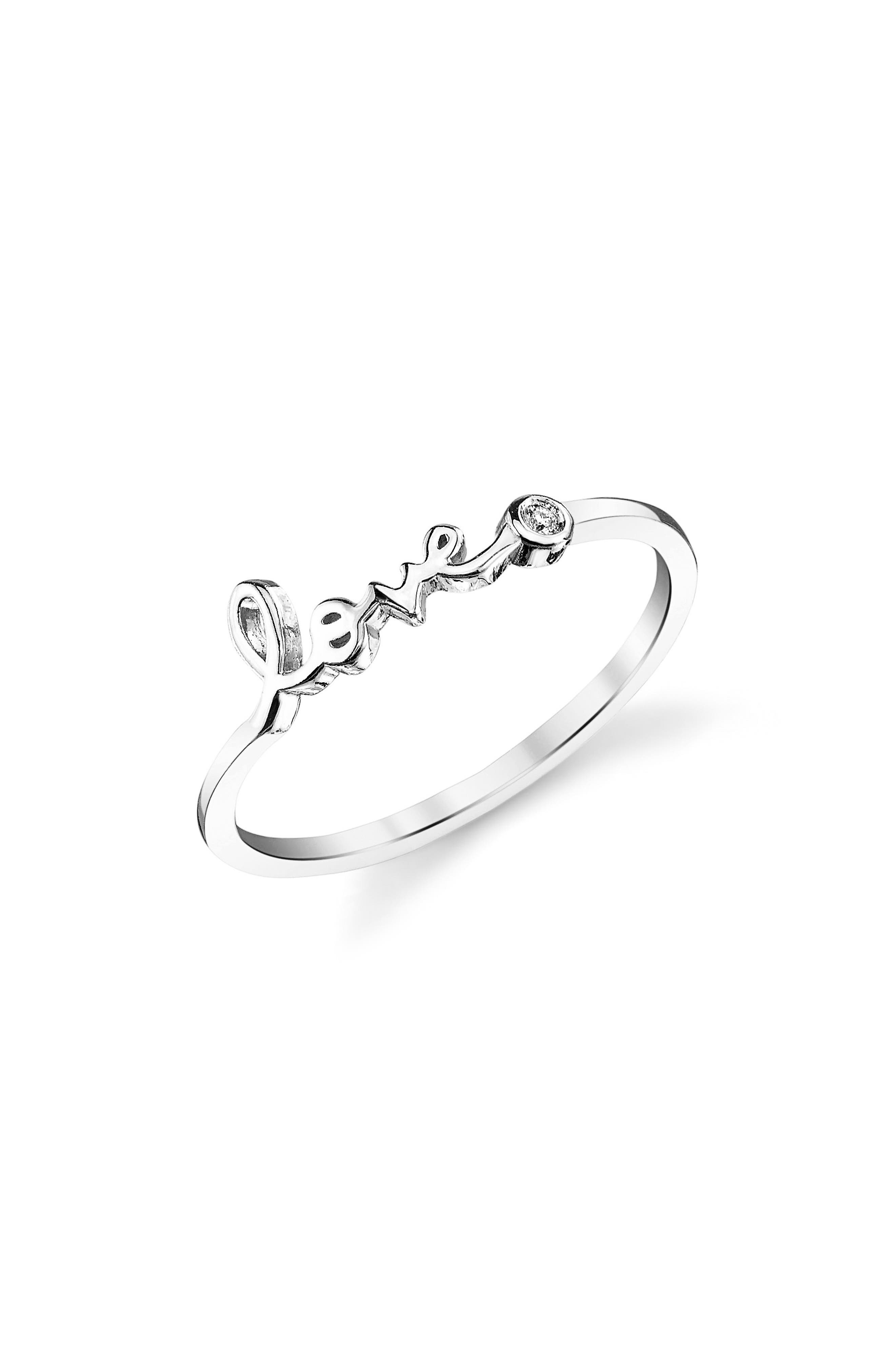 'Love' Ring,                         Main,                         color, White Gold