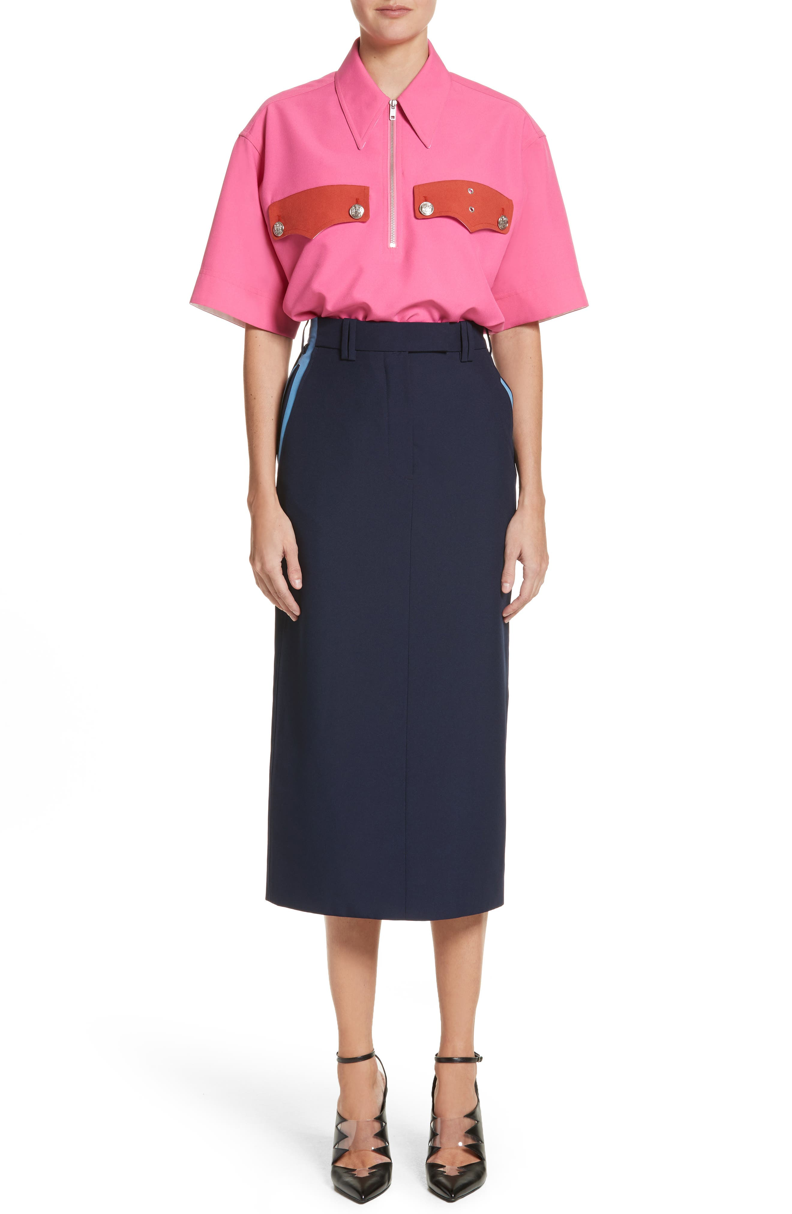 Uniform Midi Skirt,                             Alternate thumbnail 7, color,                             Marine