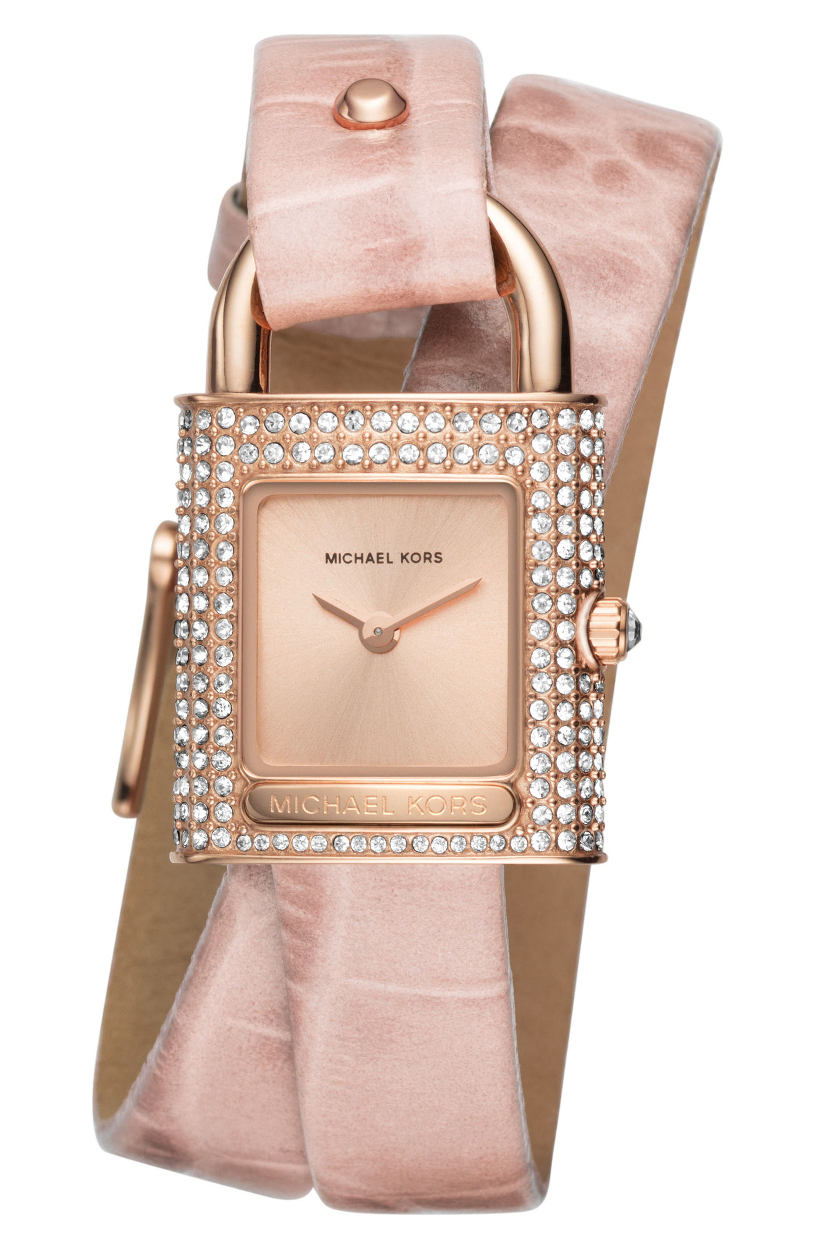 Main Image - Michael Kors Isadore Double Wrap Leather Strap Watch, 28mm