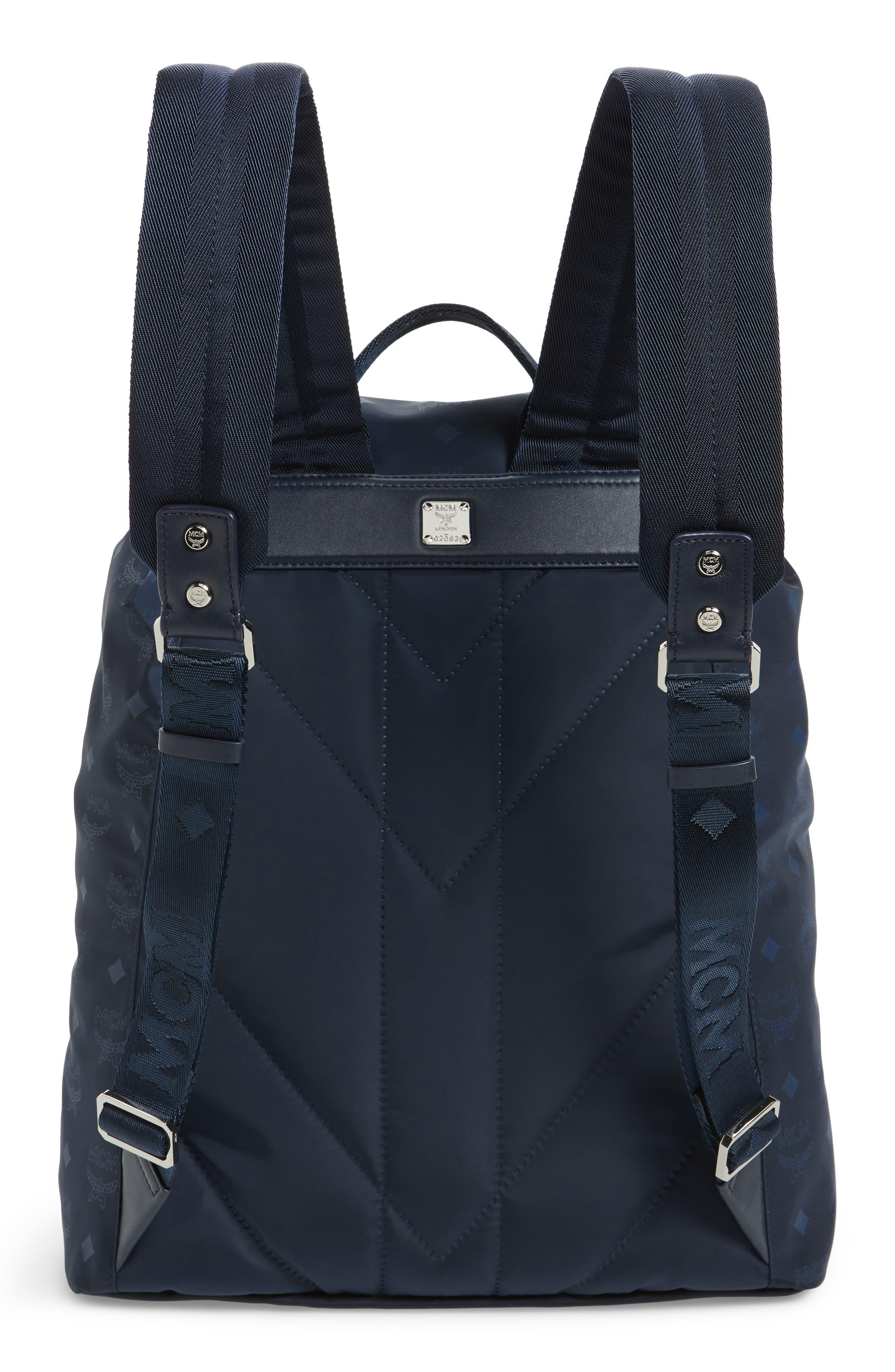 Small Dieter Monogrammed Nylon Backpack,                             Alternate thumbnail 3, color,                             Navy