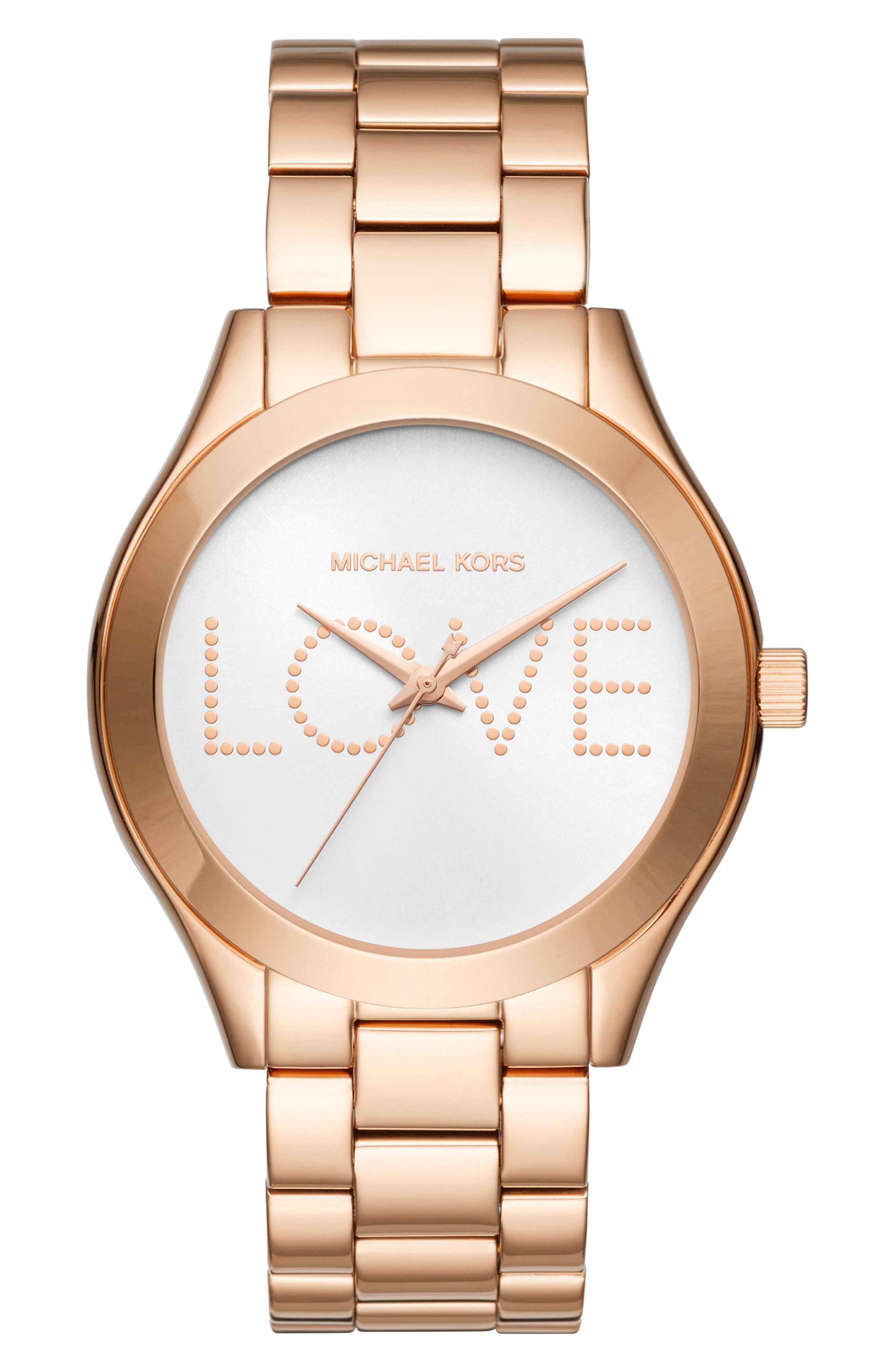 Slim Runway Love Bracelet Watch, 42mm,                         Main,                         color, Rose Gold/ Silver/ Rose Gold