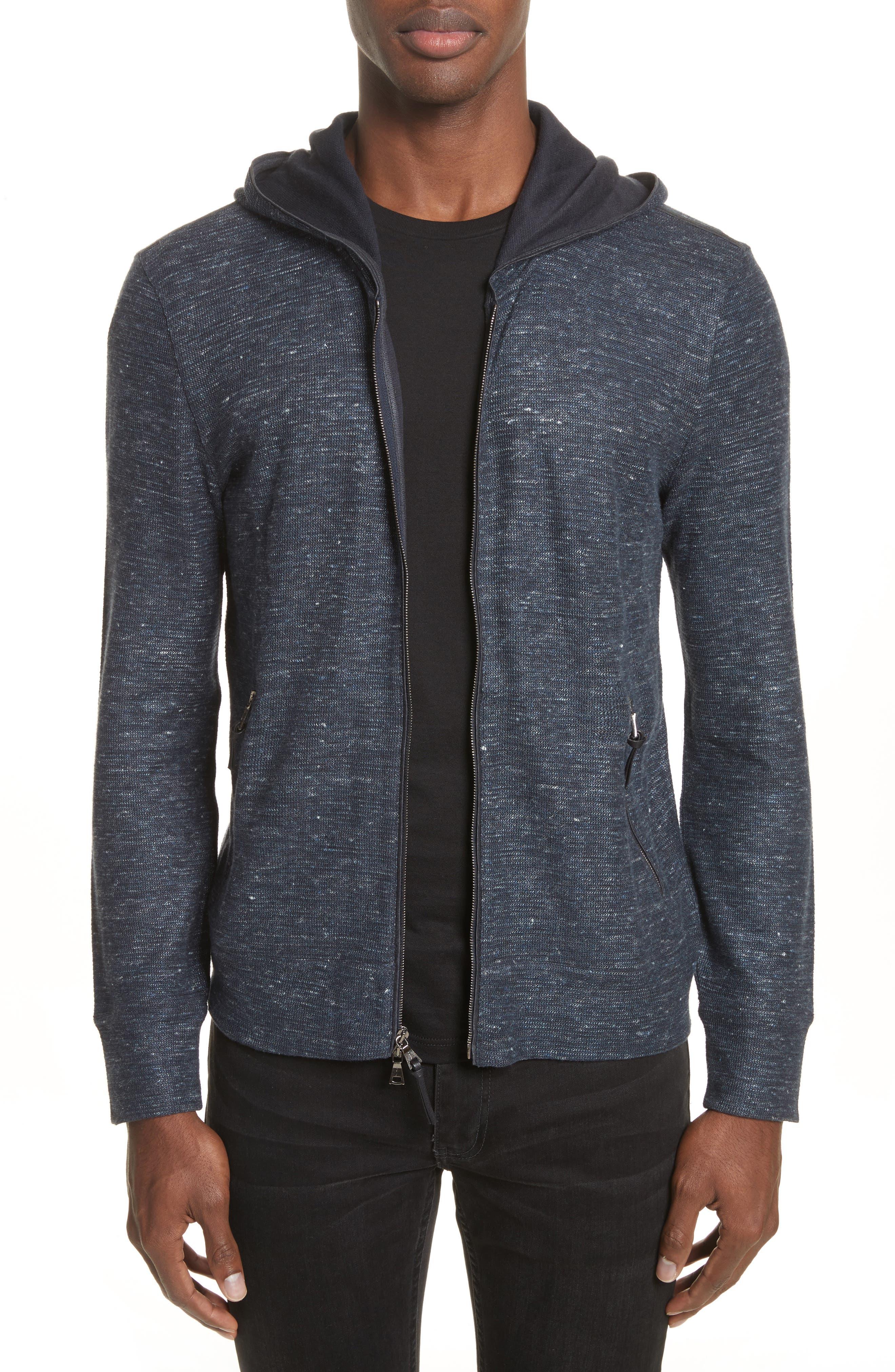 Cotton & Linen Zip Hoodie,                         Main,                         color, Navy