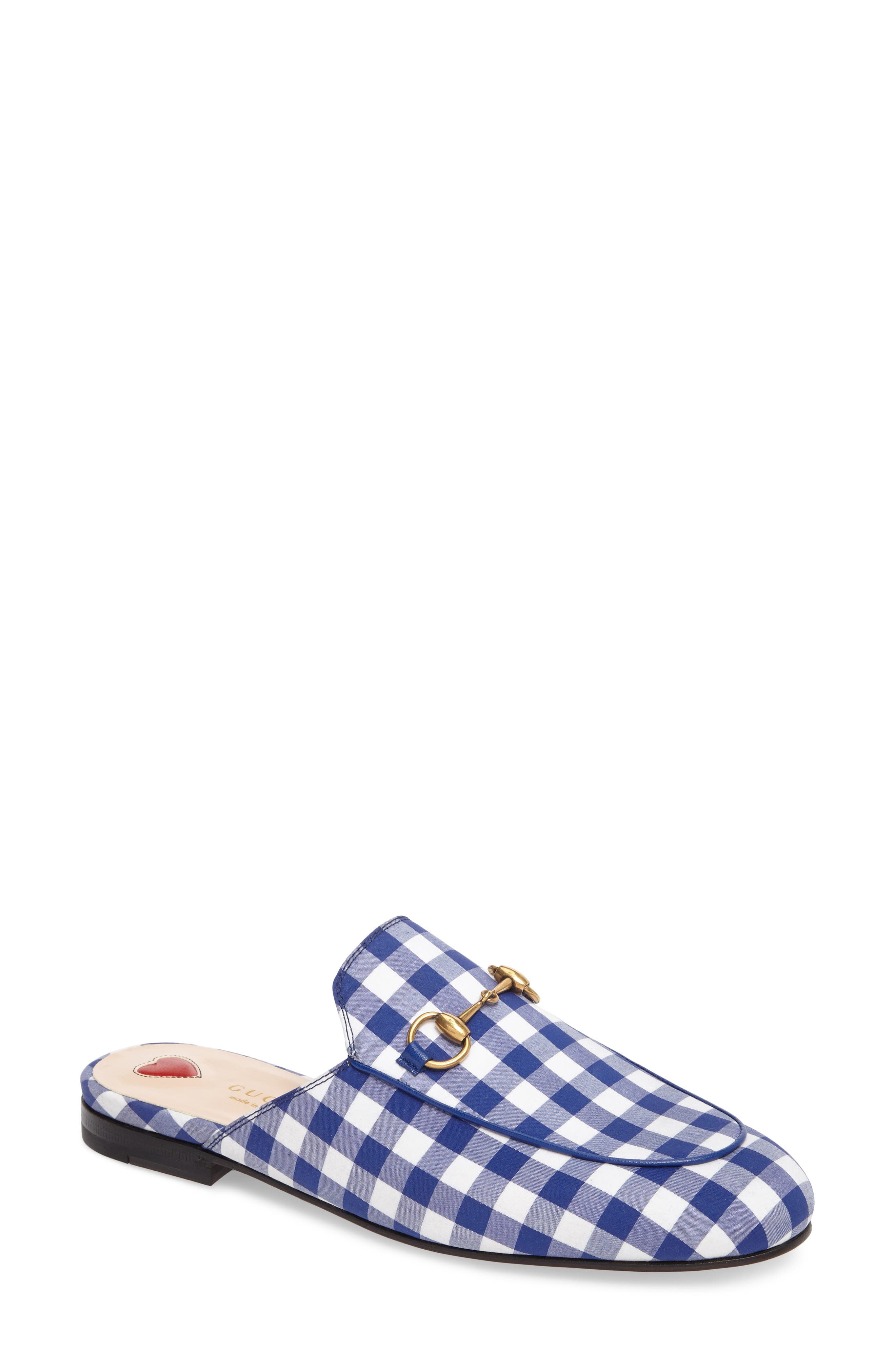 Princetown Gingham Loafer Mule,                         Main,                         color, White/ Electric Blue