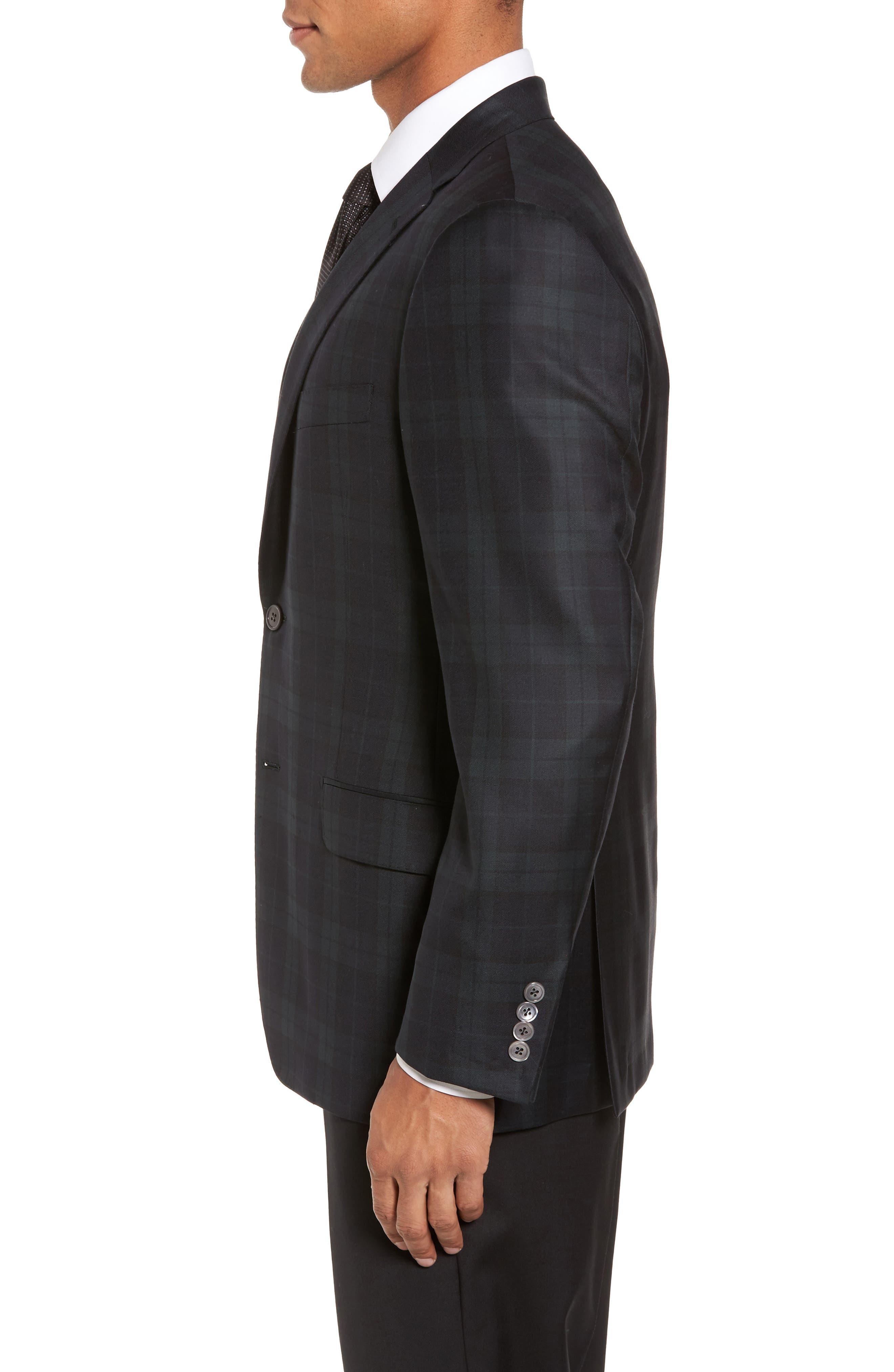 Alternate Image 3  - Hickey Freeman Classic B Fit Plaid Wool Dinner Jacket