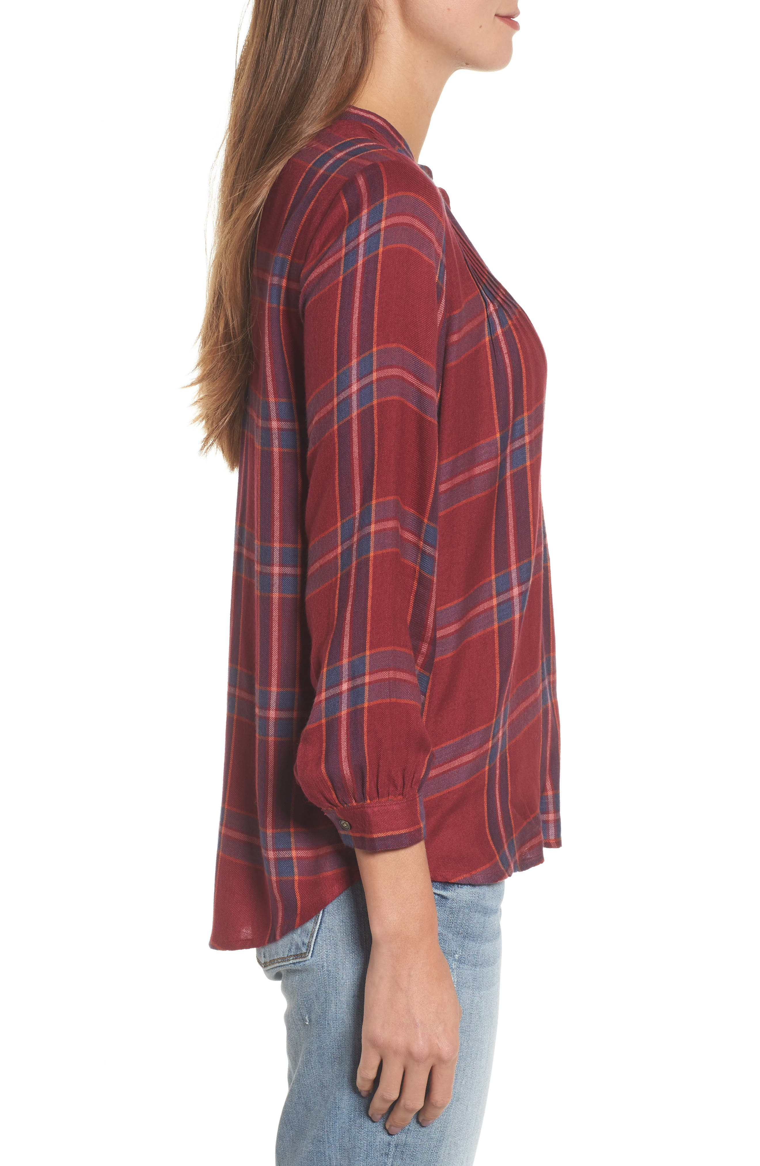 Plaid Popover Shirt,                             Alternate thumbnail 3, color,                             Red Multi