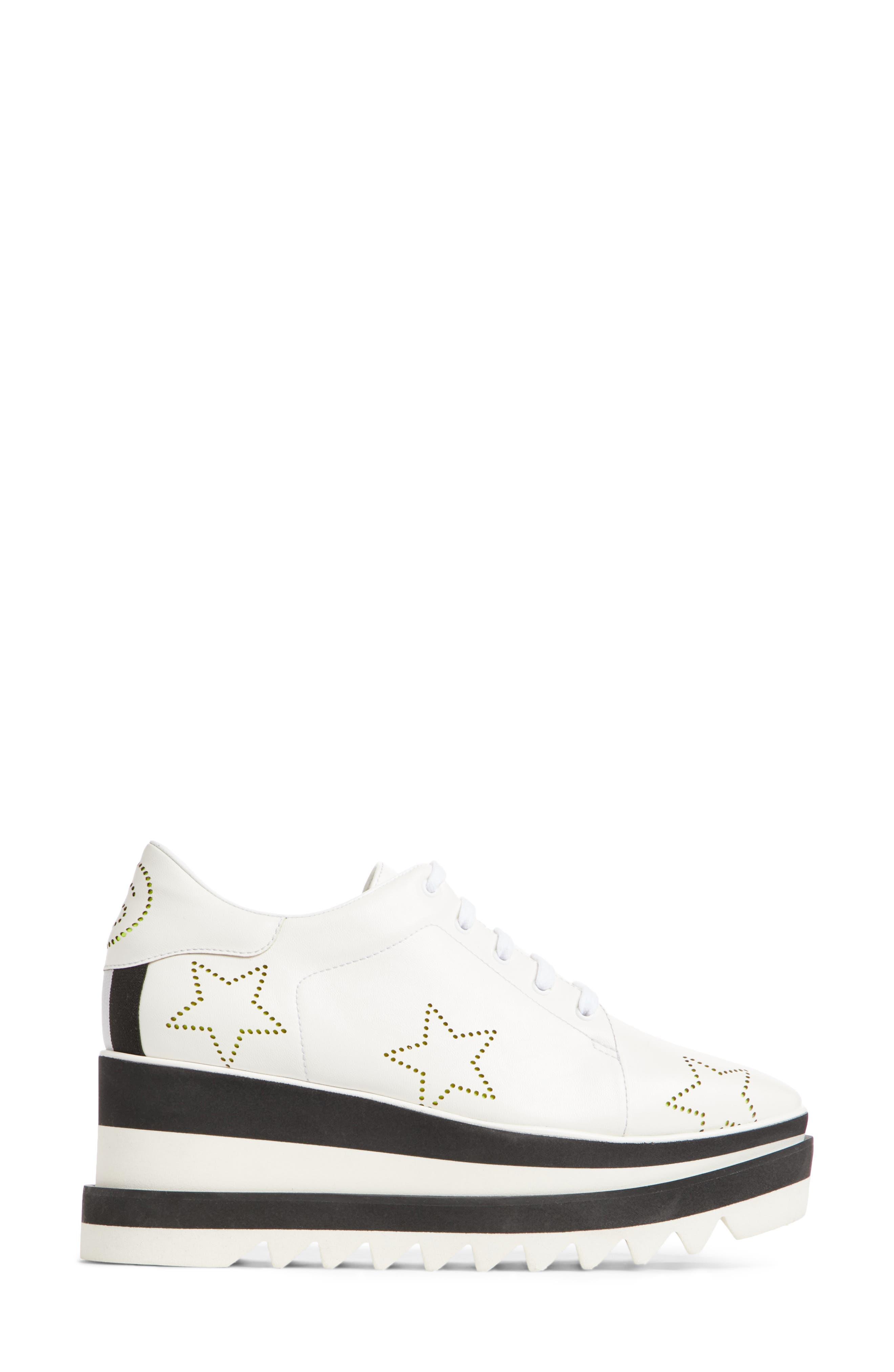 Elyse Platform Sneaker,                             Alternate thumbnail 3, color,                             White