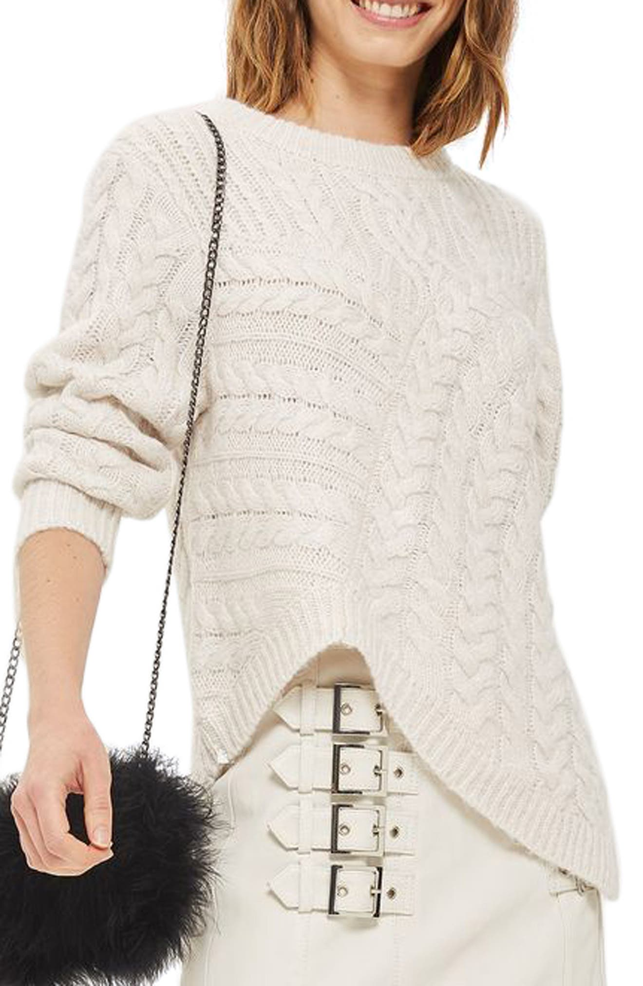 Asymmetrical Cable Knit Sweater,                             Alternate thumbnail 3, color,                             Oatmeal