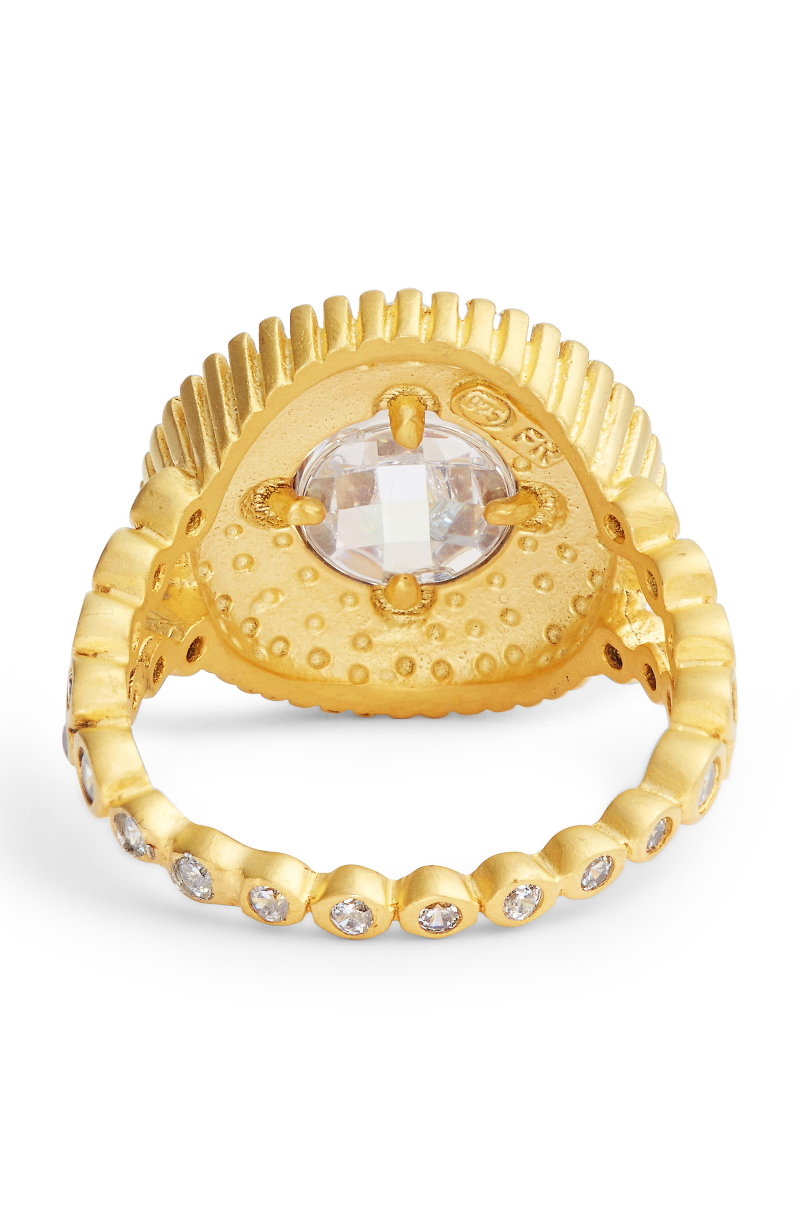 Audrey Studded Cocktail Ring,                             Alternate thumbnail 4, color,                             Gold/ Clear