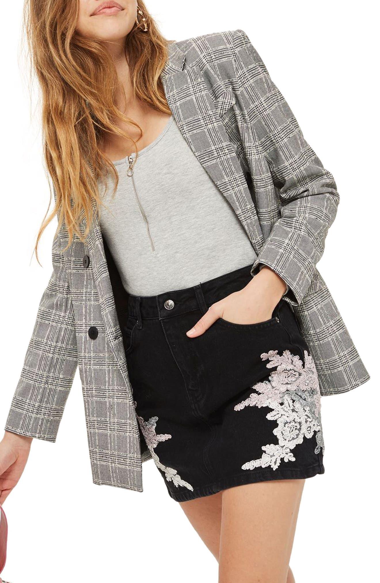 Lace Appliqué Denim Skirt,                             Main thumbnail 1, color,                             Black Multi