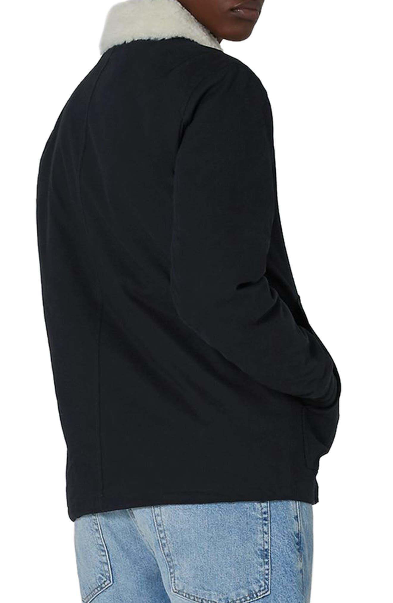 Borg Collar Coach Jacket,                             Alternate thumbnail 2, color,                             Dark Blue