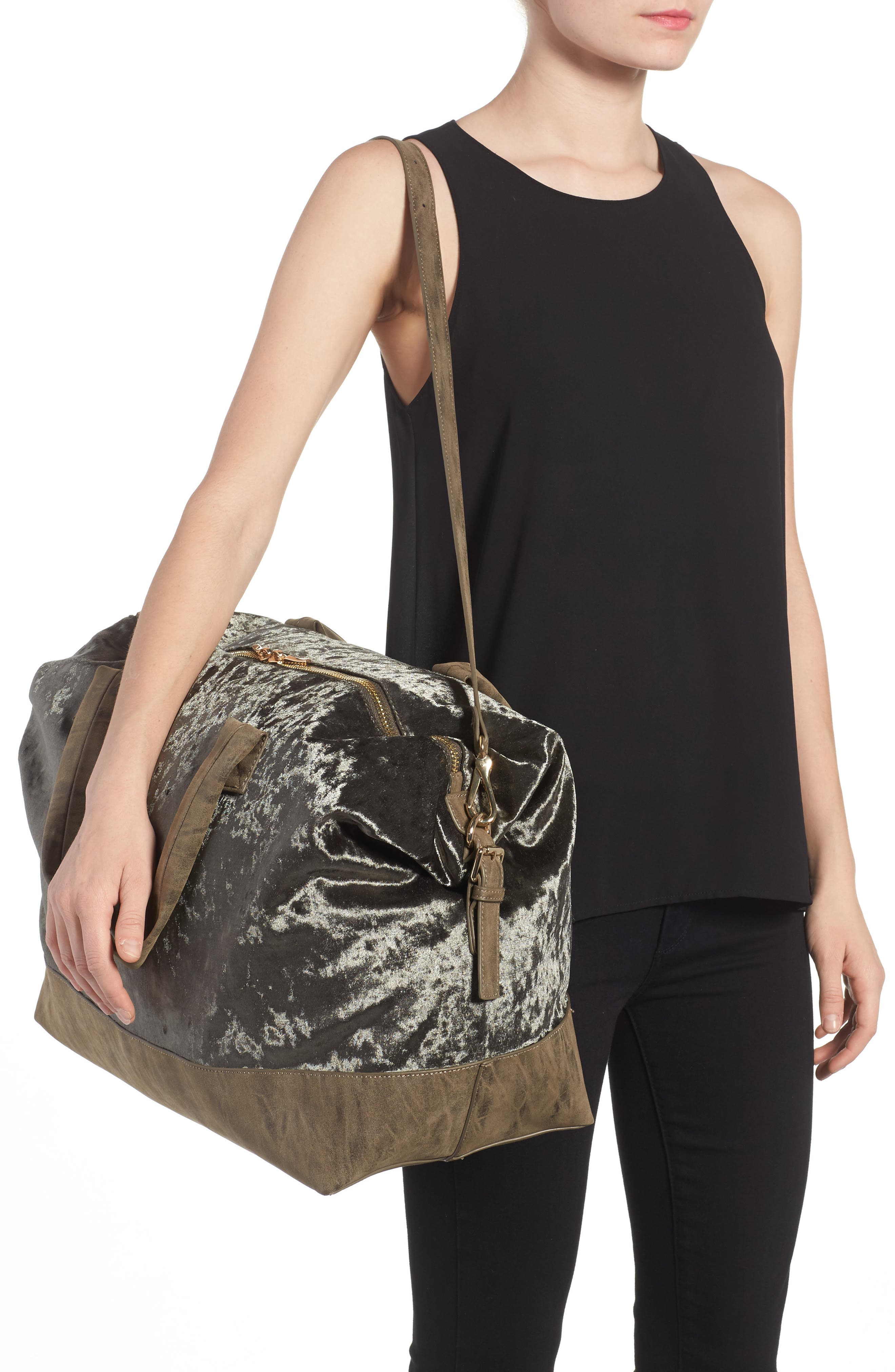 Alternate Image 2  - Sole Society Venti Velvet Duffel Bag