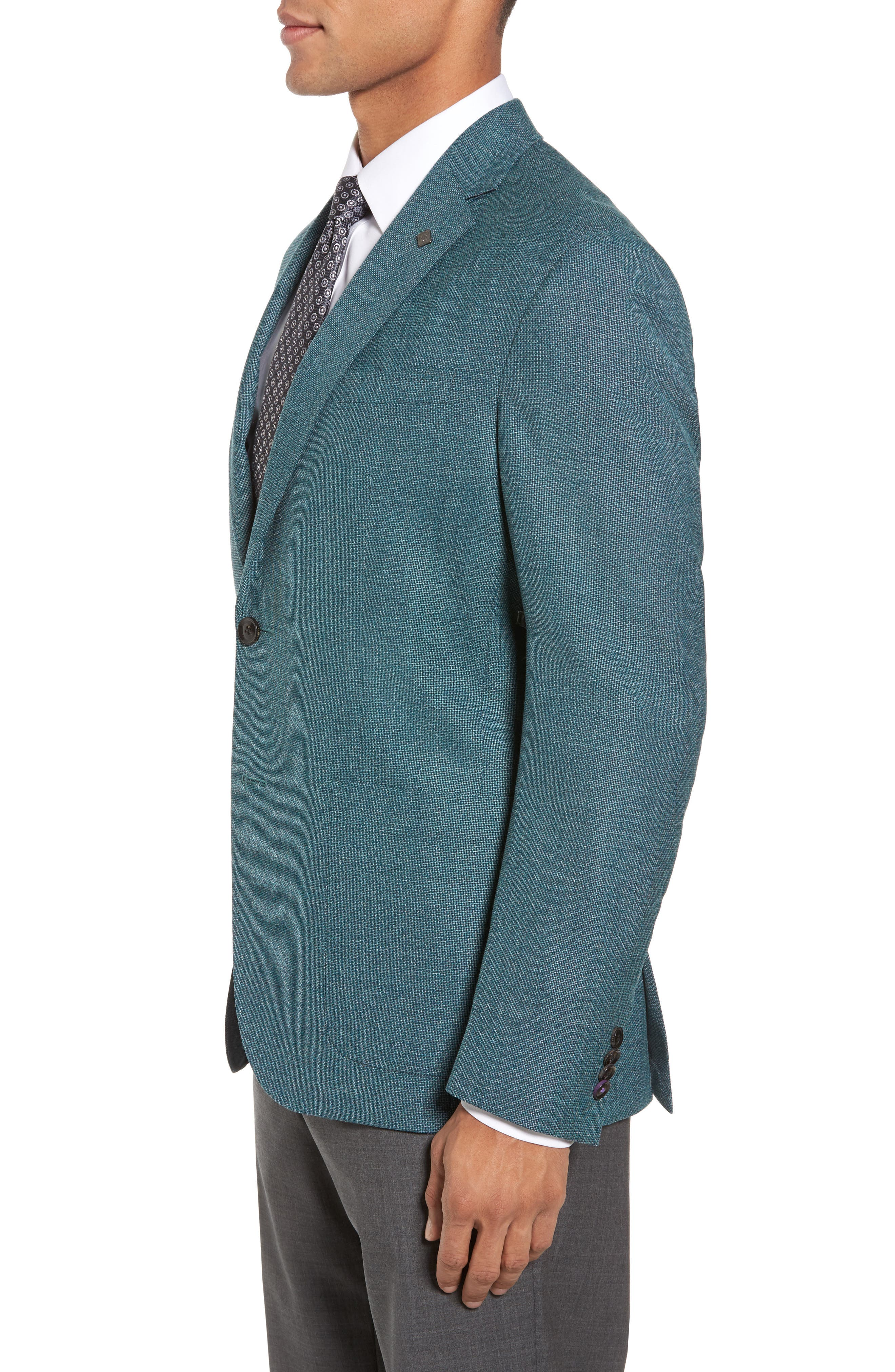 Kyle Trim Fit Wool Blazer,                             Alternate thumbnail 3, color,                             Teal Blue
