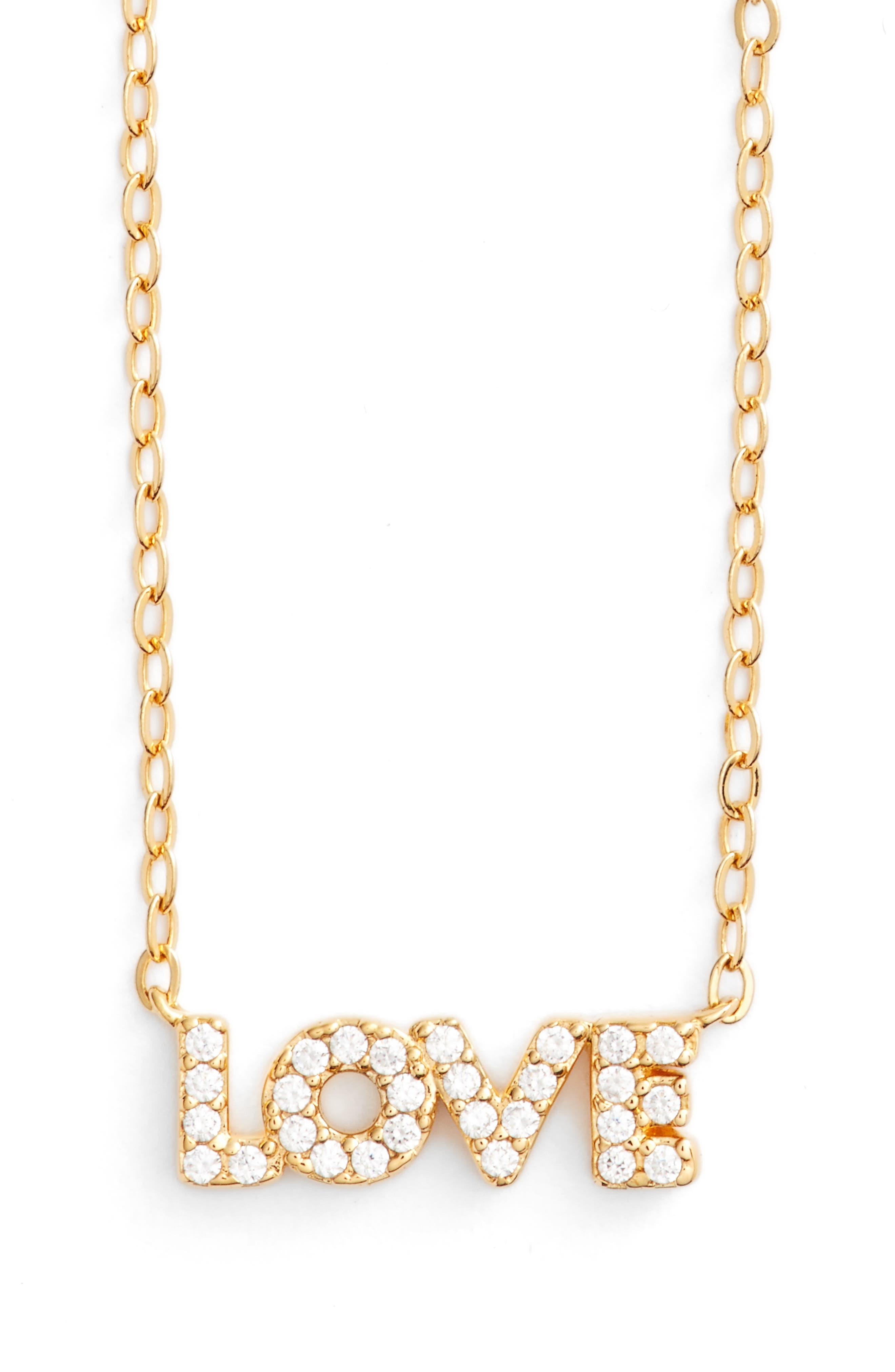 Sentimental Love Pendant Necklace,                             Main thumbnail 1, color,                             Gold