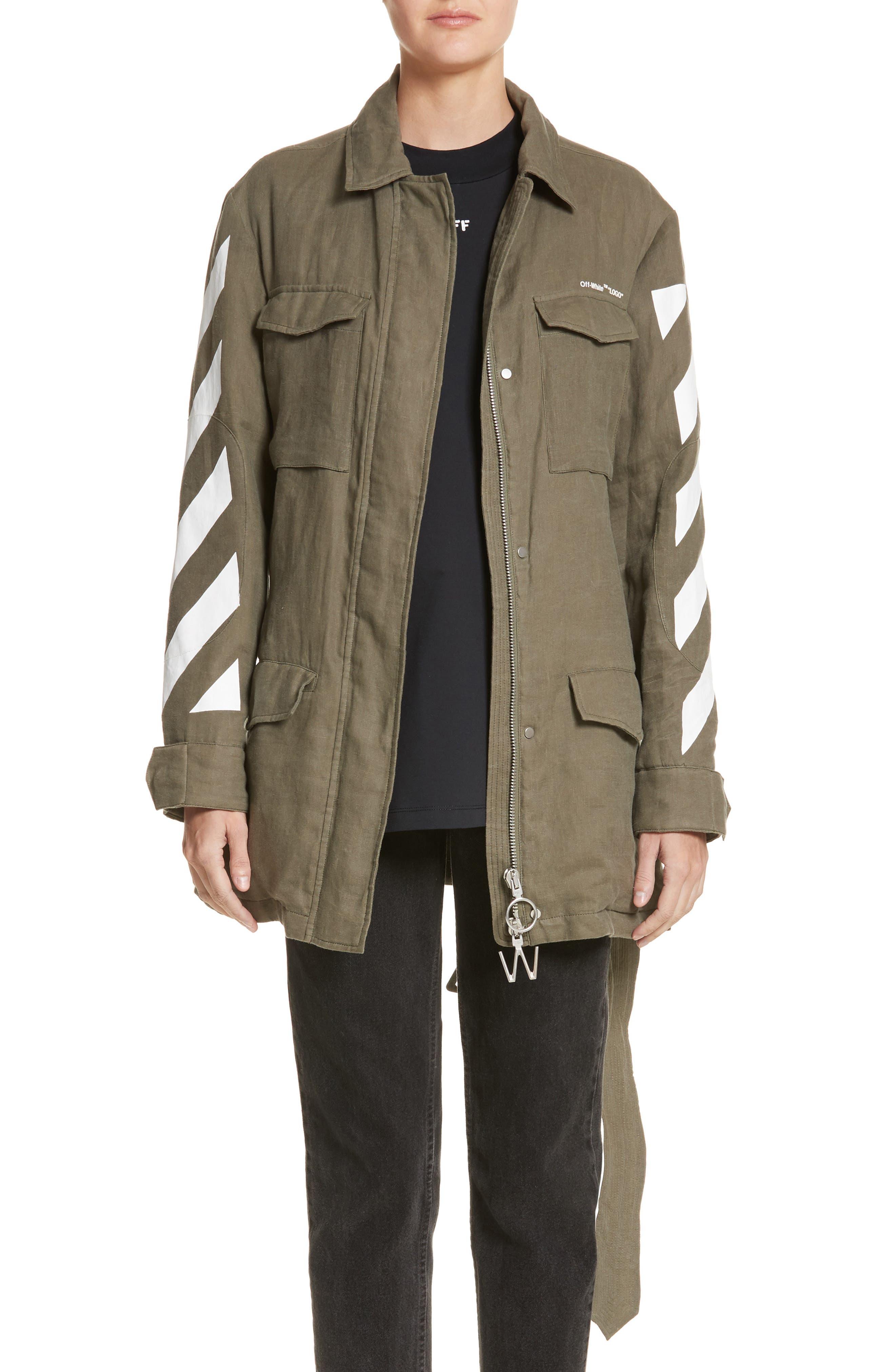 Diagonal Stripe Field Jacket,                         Main,                         color, Military Green/ White