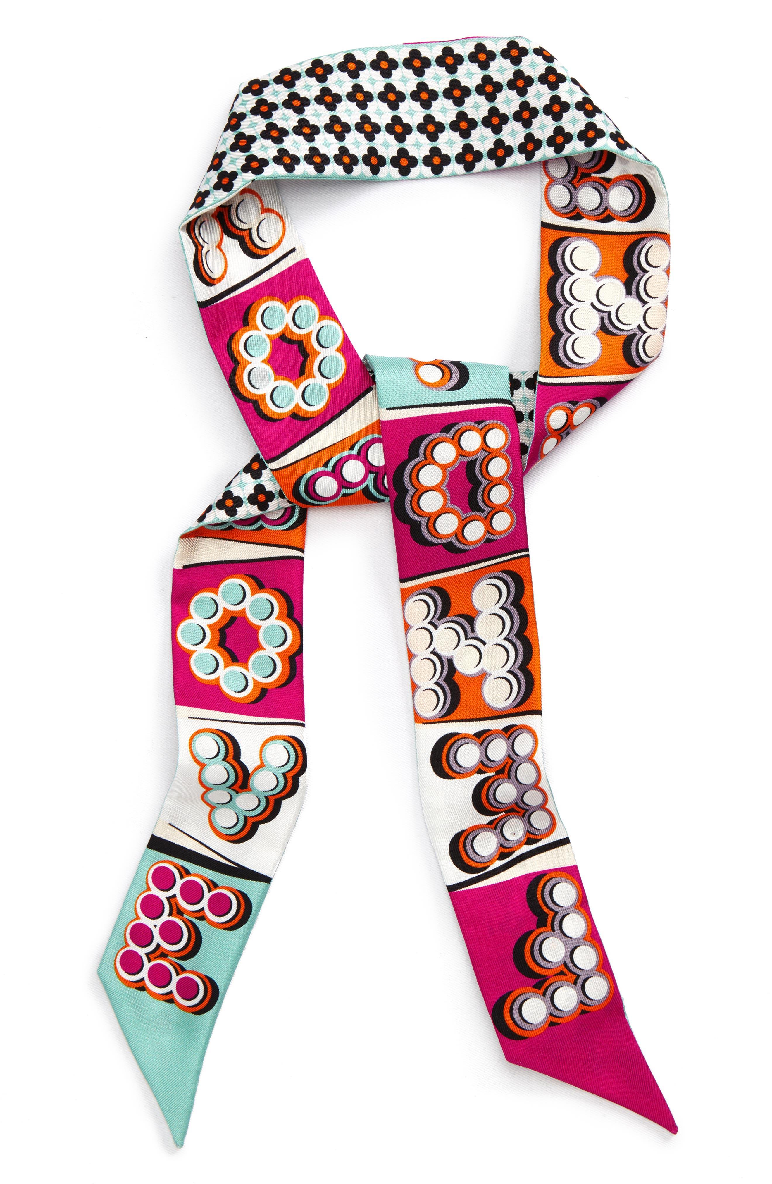 Fendi Fun Fair Wrappy Love Fendi Silk Twill Skinny Scarf