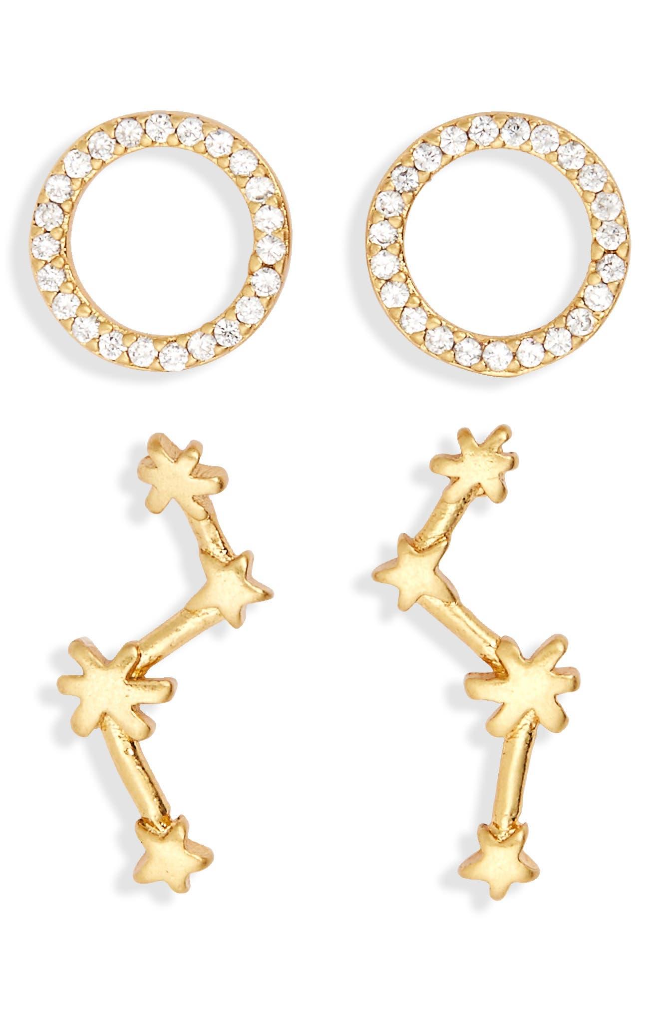 Set of 2 Mismatched Stud Earrings,                             Main thumbnail 1, color,                             Vintage Gold