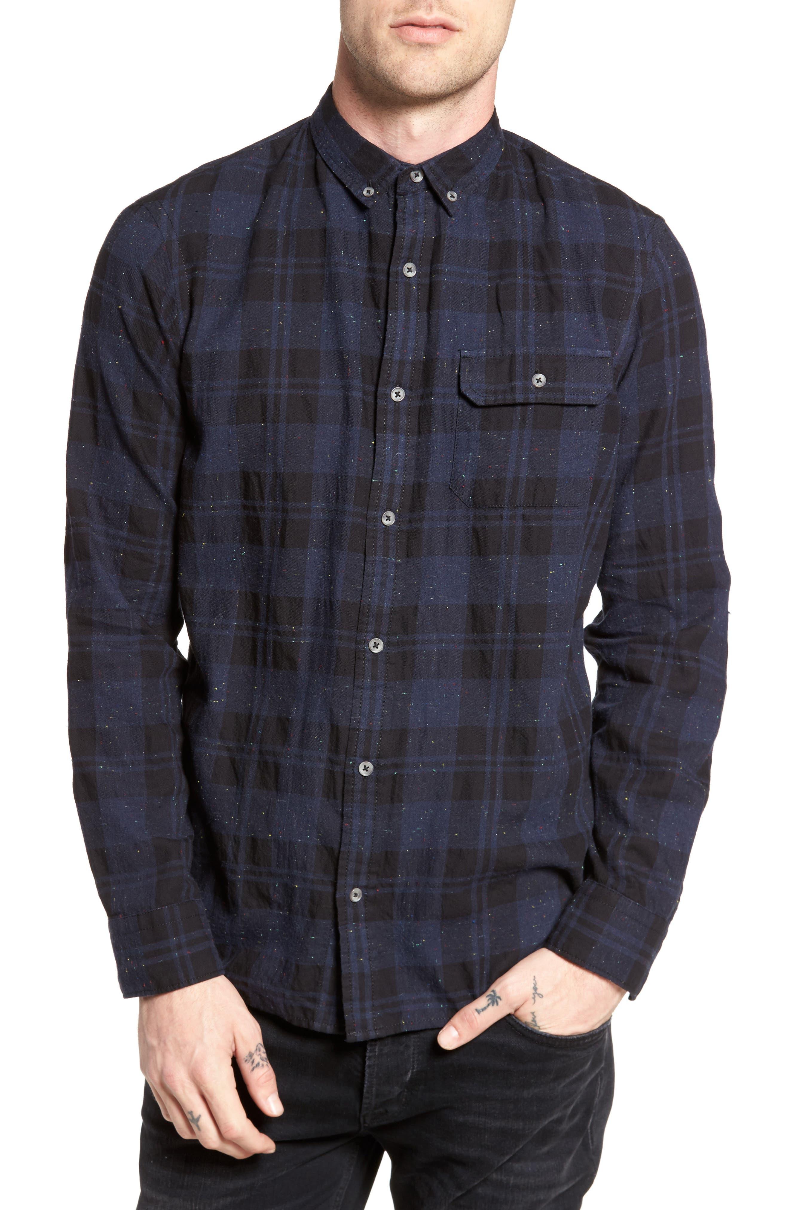 Long Sleeve Plaid Nep Shirt,                         Main,                         color, Navy- Black Nepped Plaid